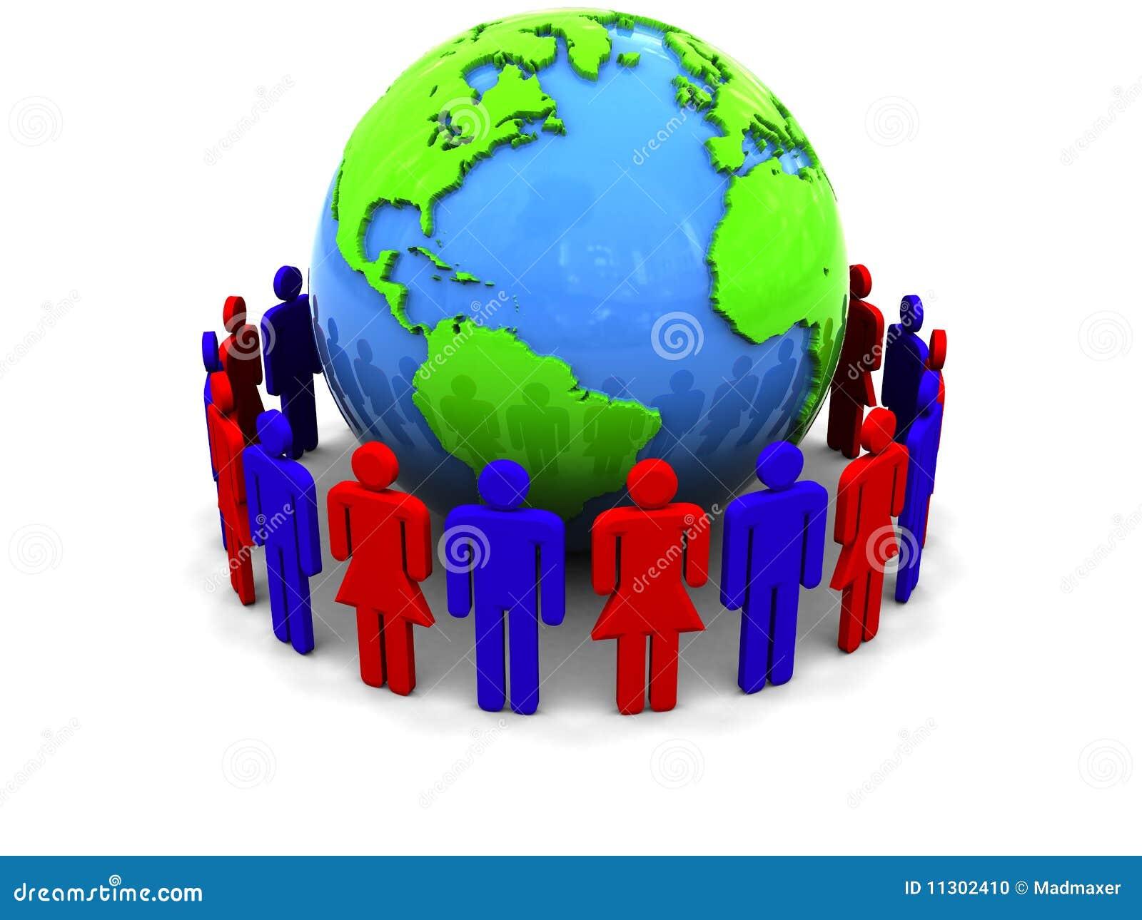 Leute um Erde