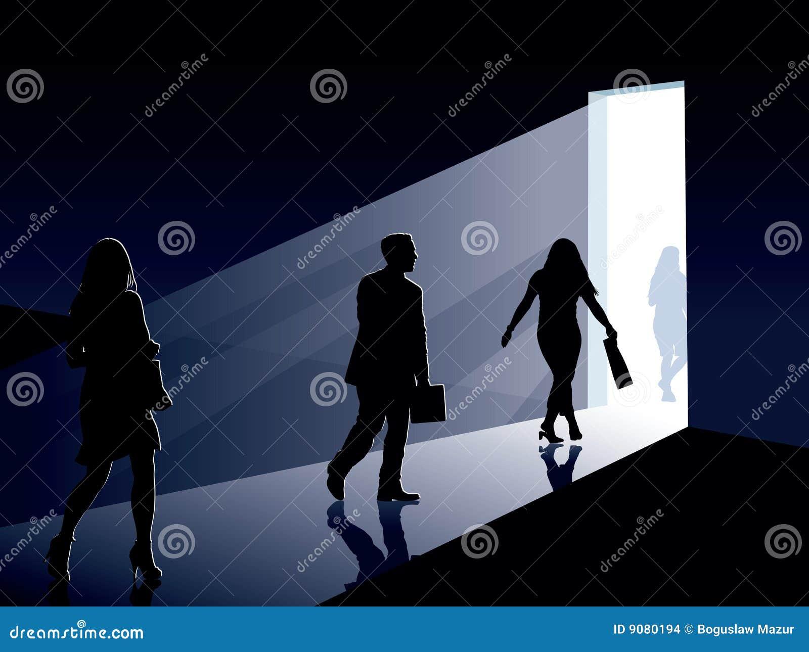 Leute und Tür