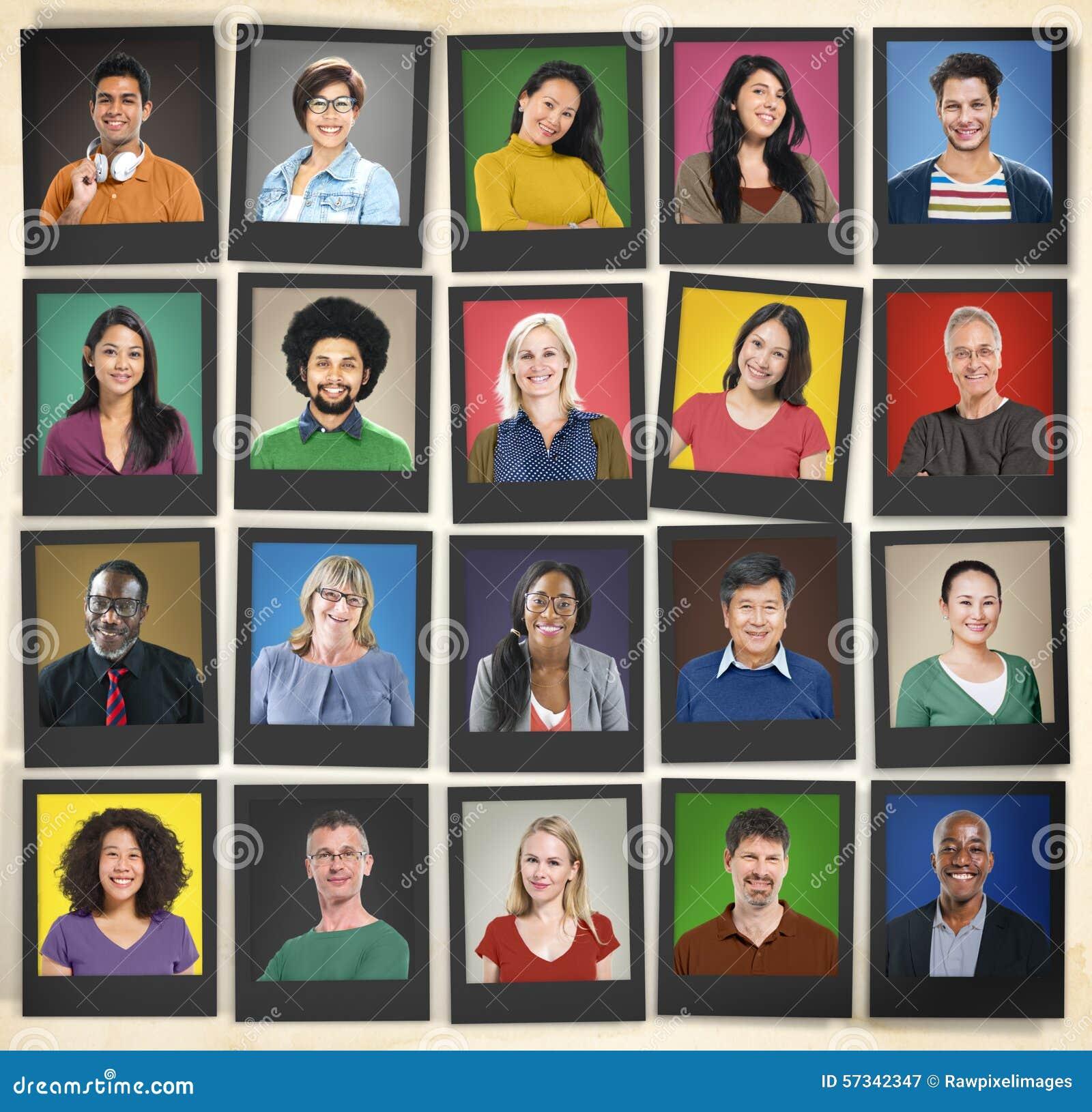 Leute-Verschiedenartigkeit stellt menschliches Gesichts-Porträt-Gemeinschaftskonzept gegenüber
