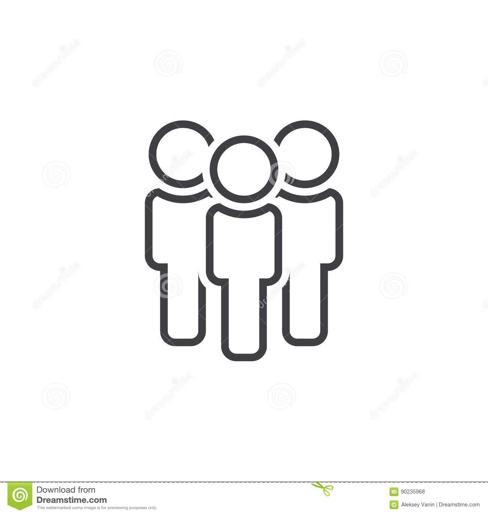 Leute zeichnen Ikone, die Teamentwurfs-Logoillustration, linear