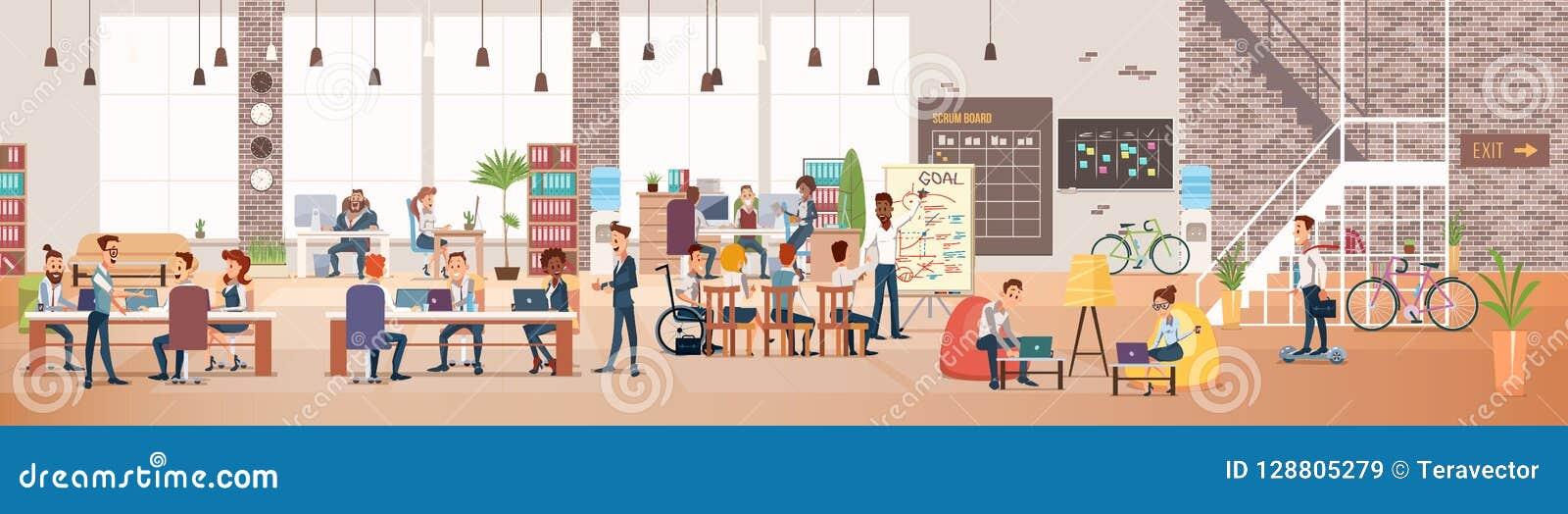 Leutearbeit im Büro Coworking-Arbeitsplatz Vektor