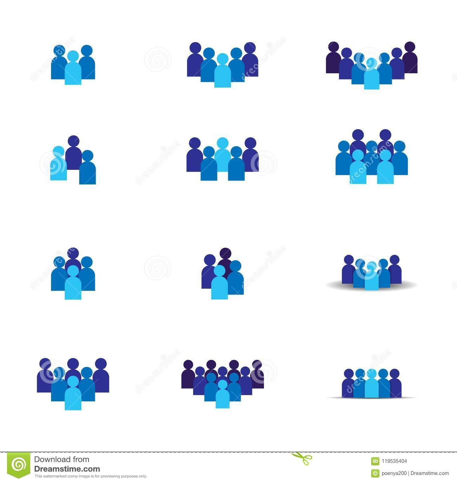 Leuteteamikone Gruppen-Logosymbol des Sozialen Netzes Führung oder Gemeinschaftskonzept