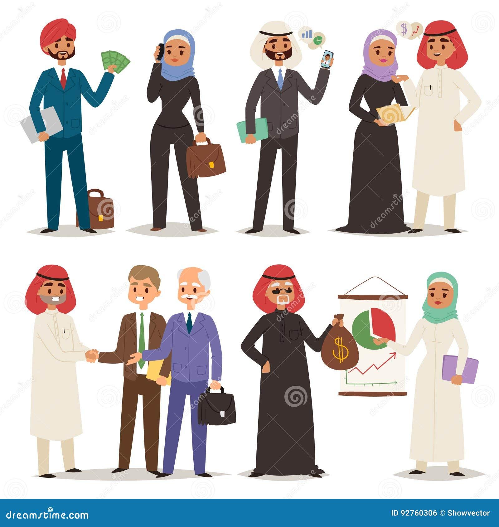 Leuteteamwork-Vektorillustrationszeichentrickfilm-figur des Geschäfts Direktionsbürositzung der arabischen arabische