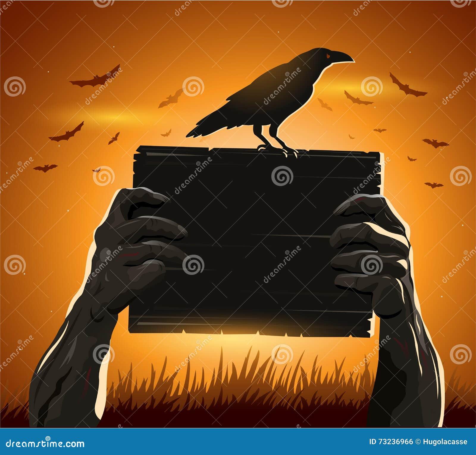 Levande döden räcker det hållande tecknet med det tomma kortet som en kusliga halloween eller en läskig symbolgalande