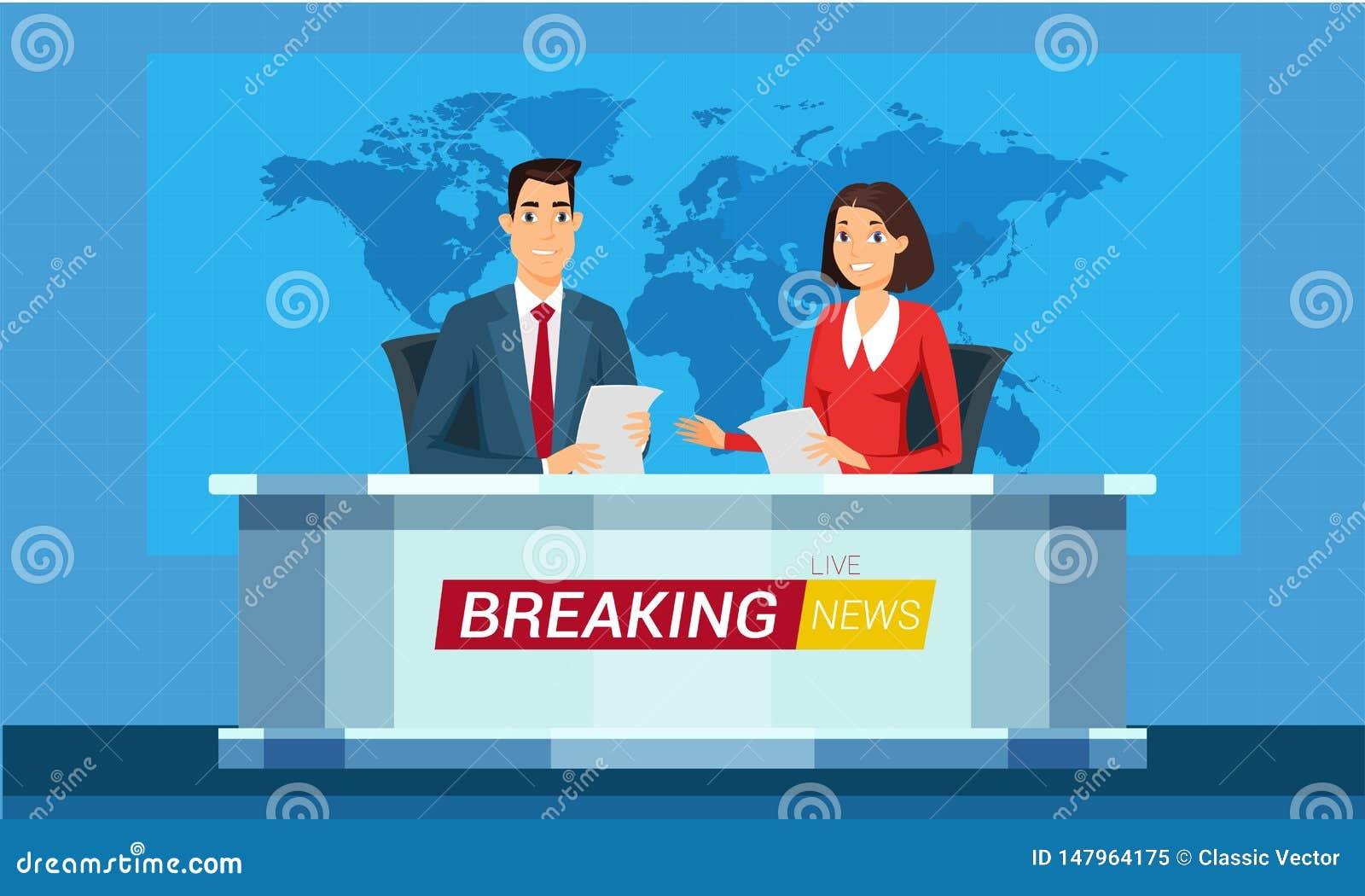 Levande illustration för breaking newstecknad filmvektor