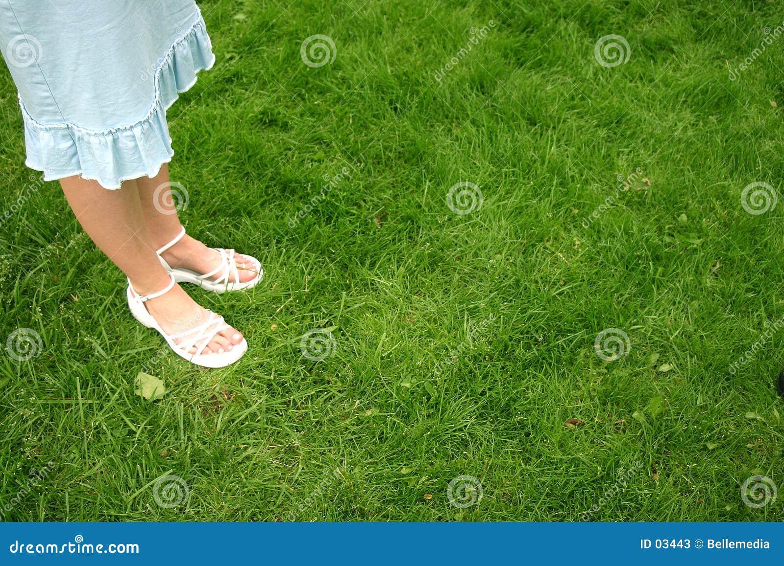 Levandosi in piedi nel verde
