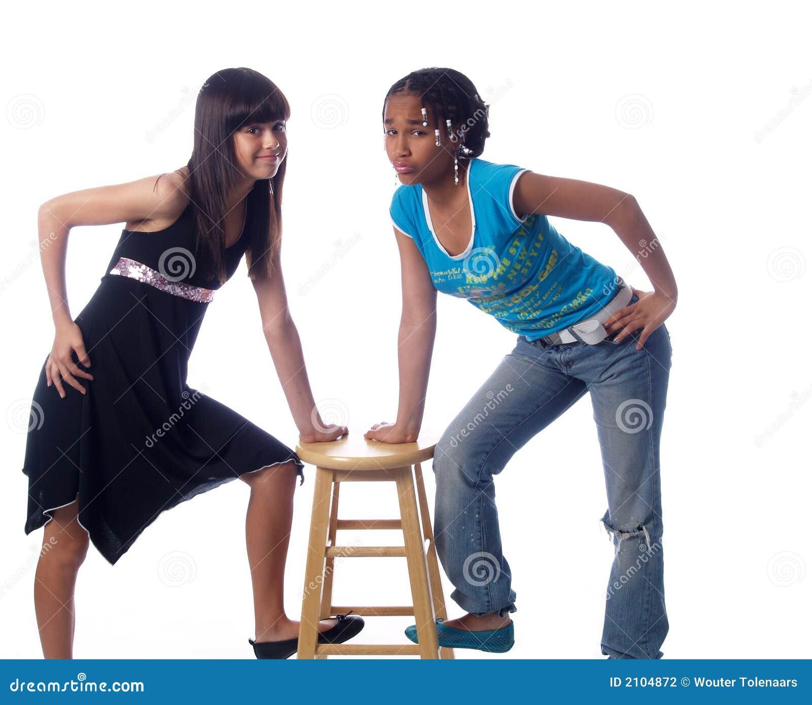 Levantamento bonito de 2 meninas