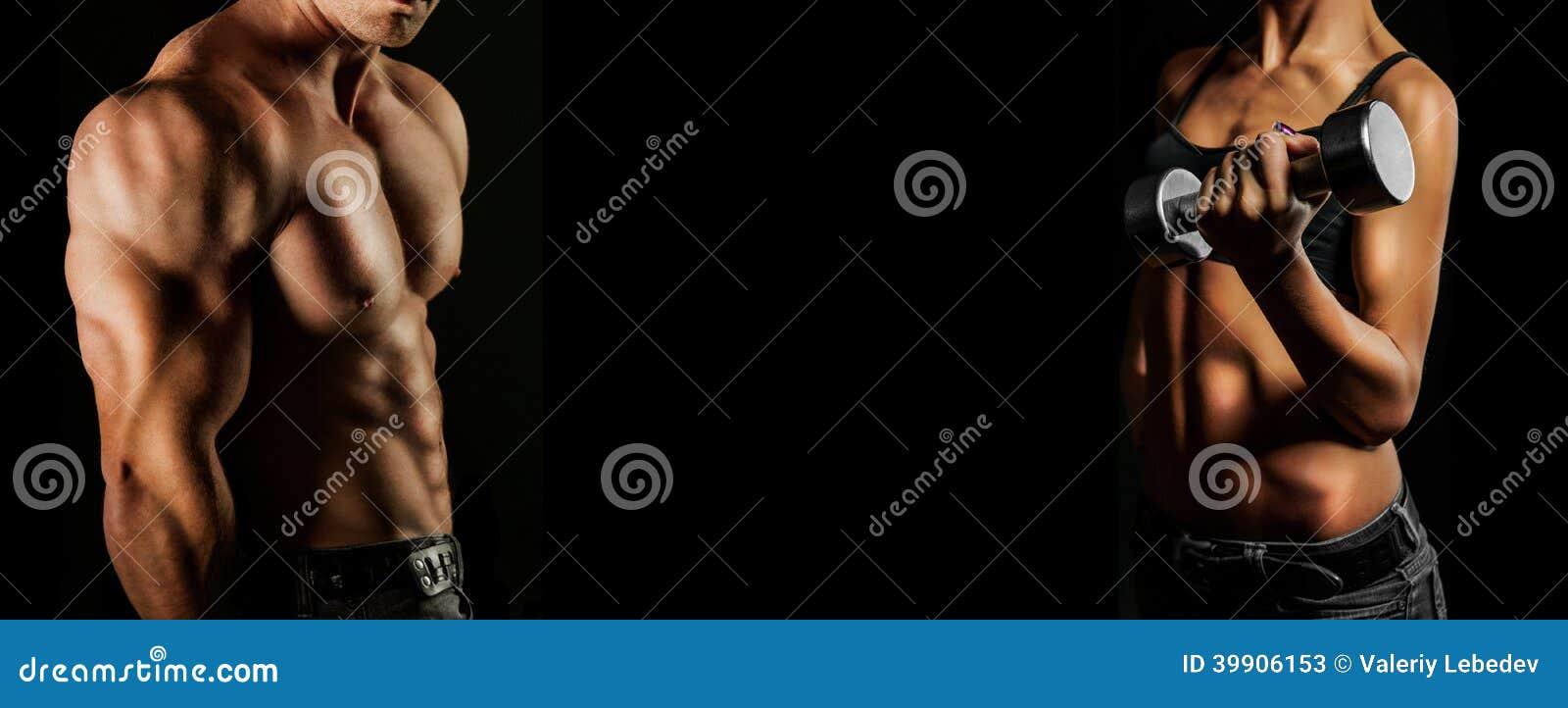 Levantamiento de pesas. Hombre y mujer