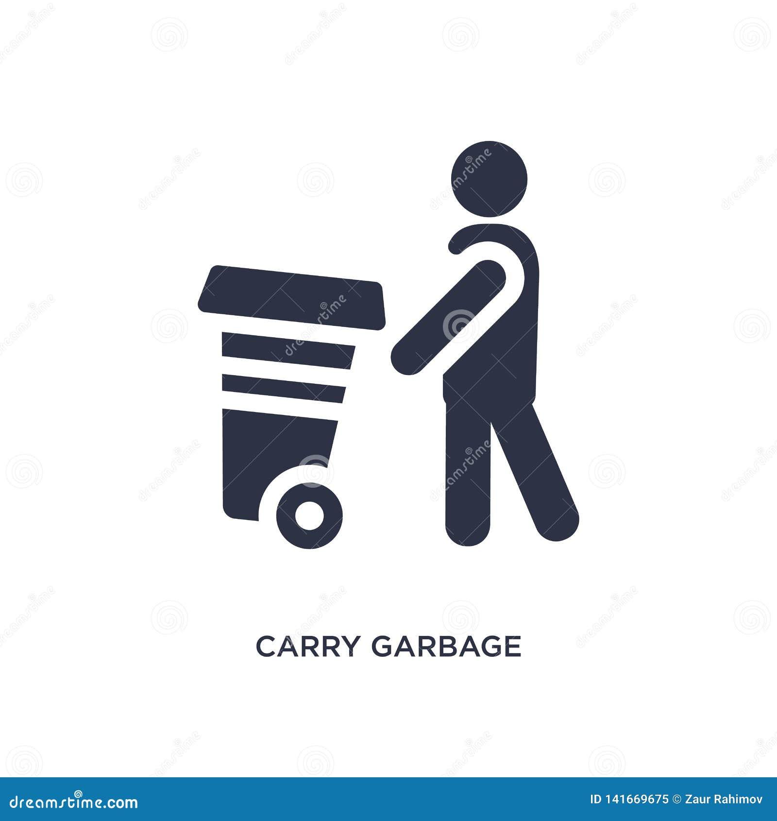 Leve o ícone do lixo no fundo branco Ilustração simples do elemento do conceito do comportamento
