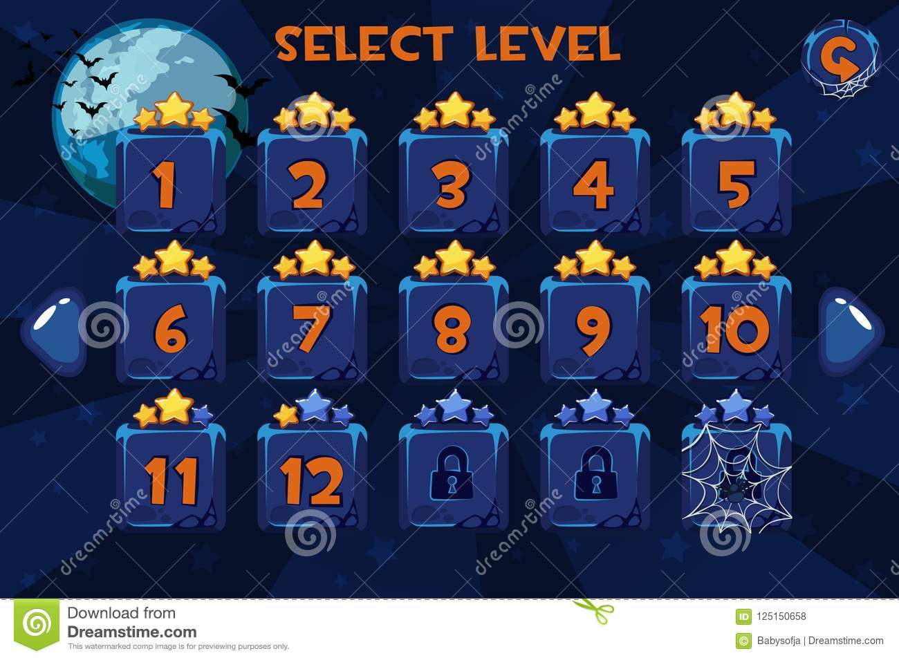 download level selection screen game ui set on the halloween background stock vector