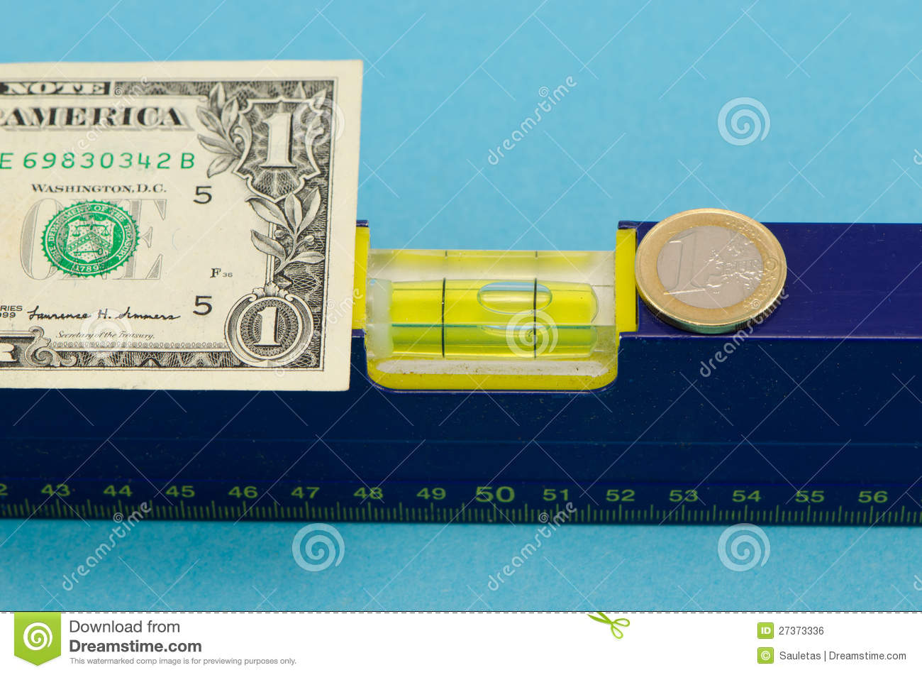 Level Tool Usd Dollar Banknote Euro Coin On Blue