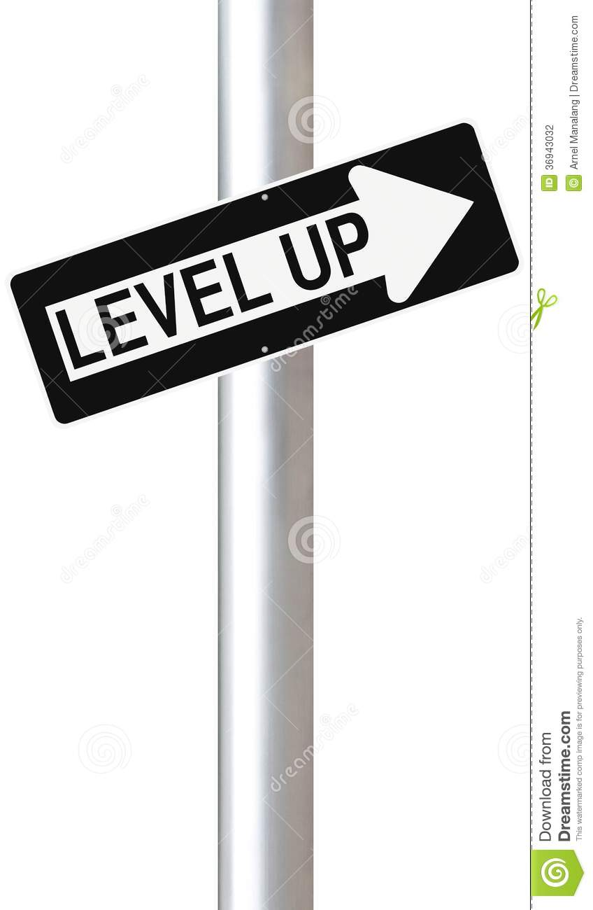 Conceptual one way street sign indicating Level Up.