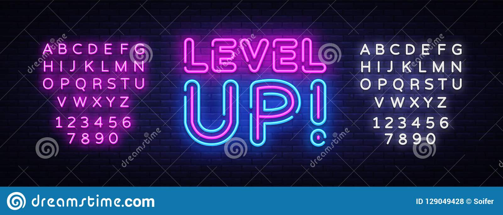 Level Up Neon Text Vector. Level Up neon sign, design template, modern trend design, night neon signboard, night bright