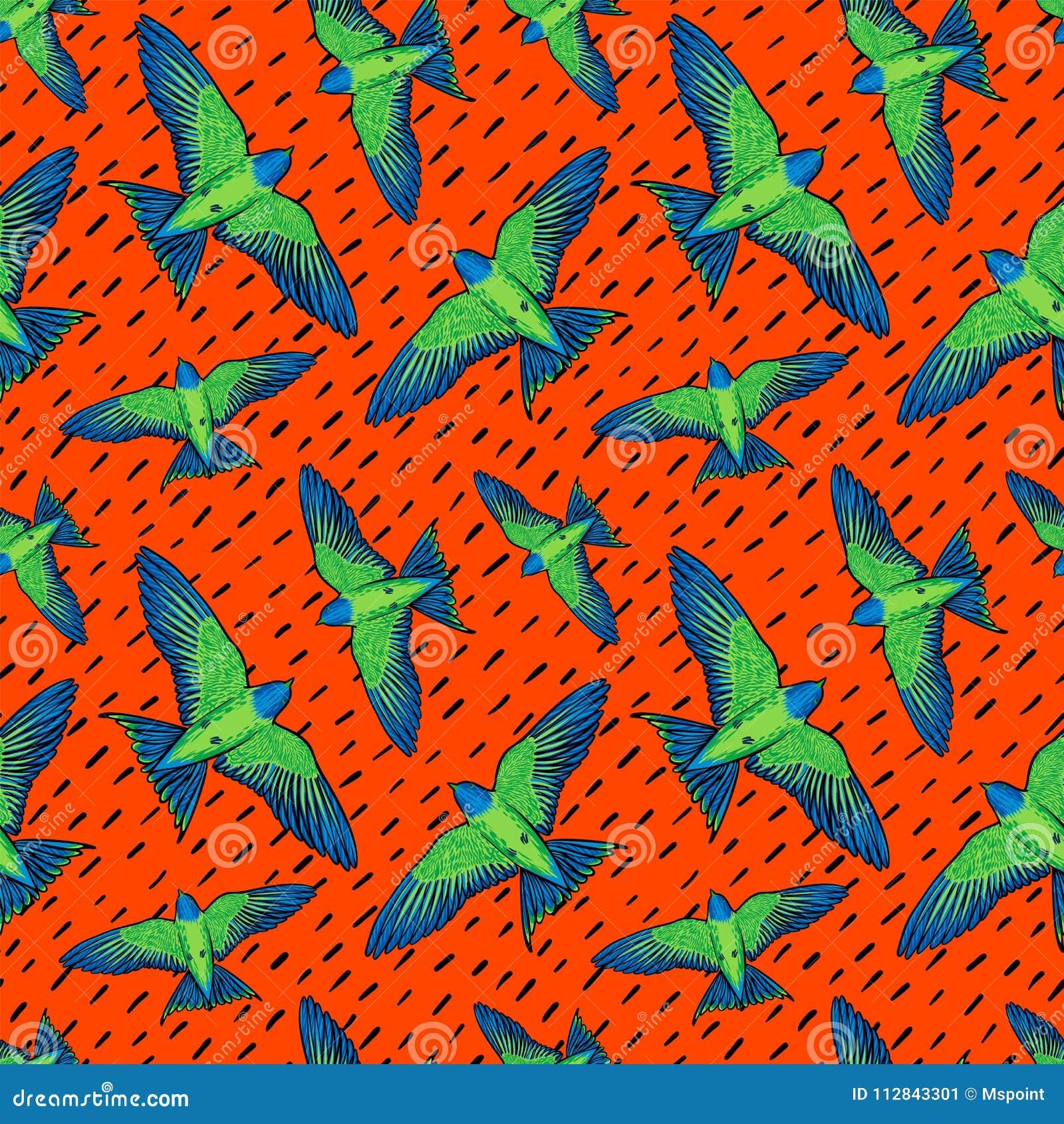 Levendig Vogels naadloos patroon Kleurrijke textuur met groene papegaaien op oranje achtergrond Tropische vogelsachtergrond voor