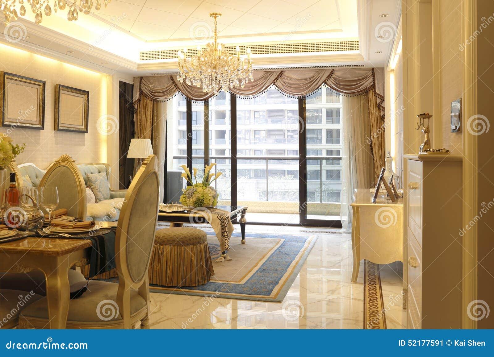 Levendige warme eetkamer en woonkamer stock foto afbeelding 52177591 - Eetkamer en woonkamer ...