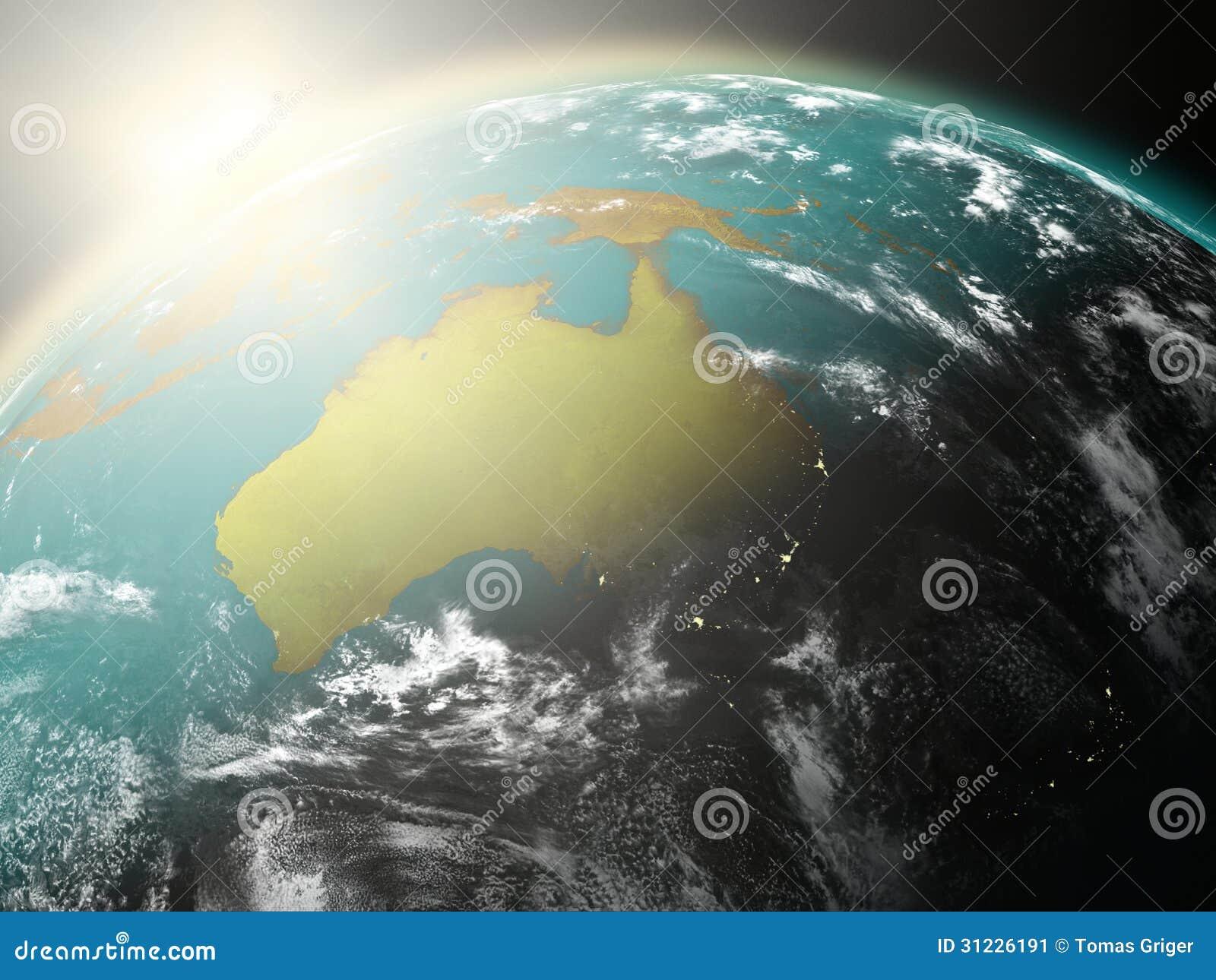 Lever de soleil au-dessus d Australie
