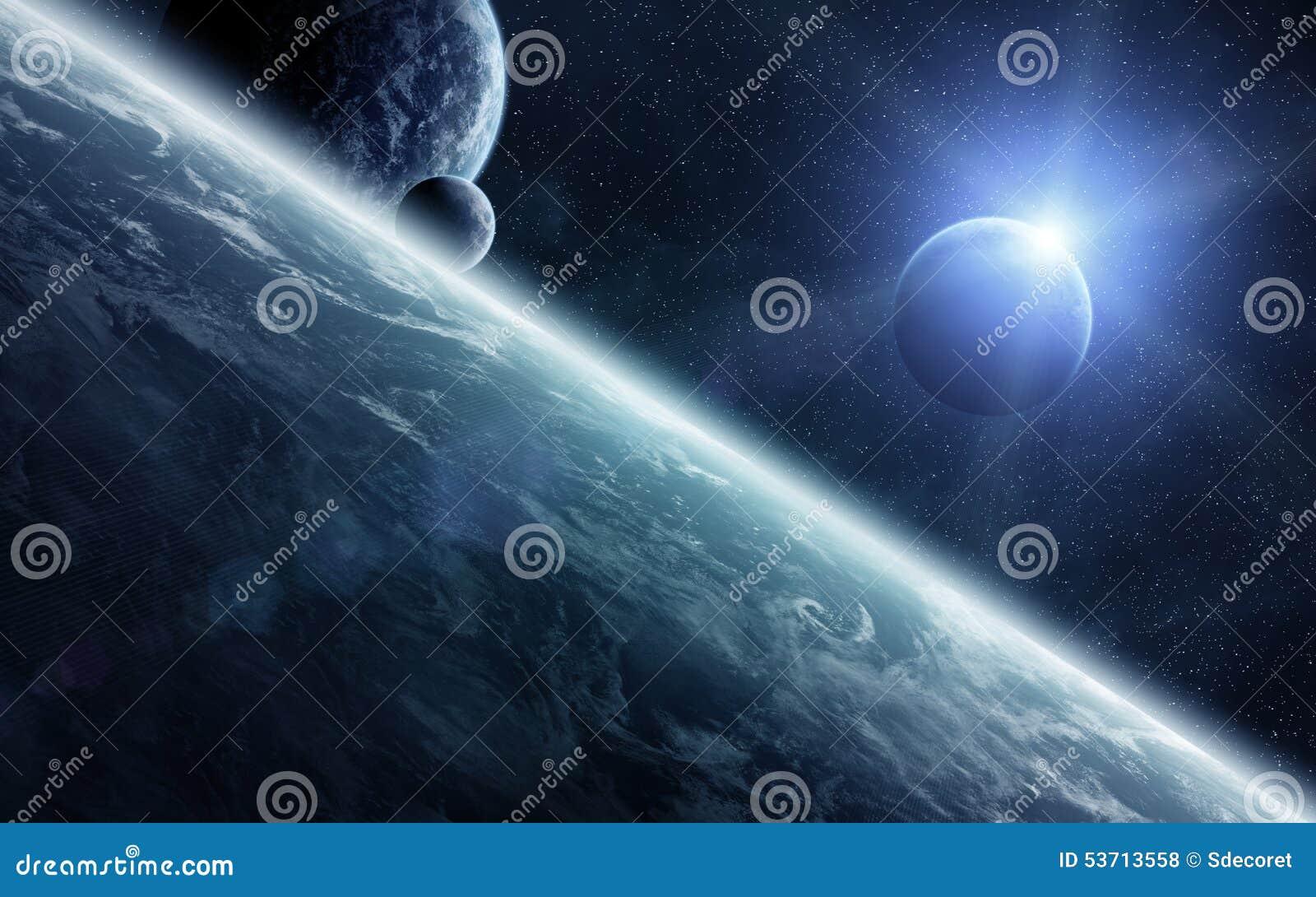 Lever de soleil au-dessus des planètes dans l espace