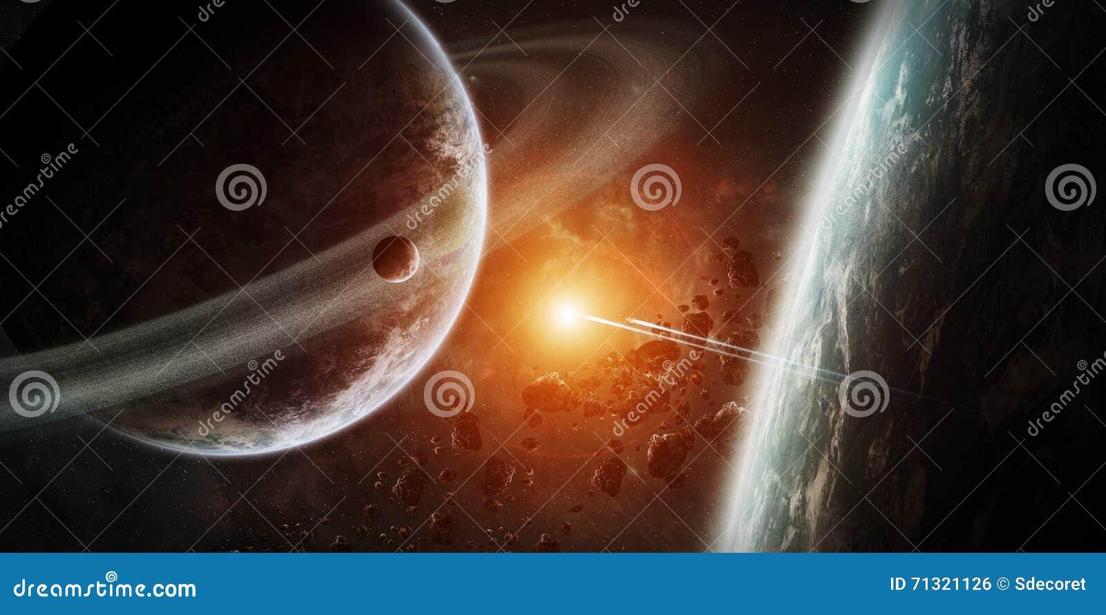 Lever de soleil au-dessus du groupe de planètes dans l espace