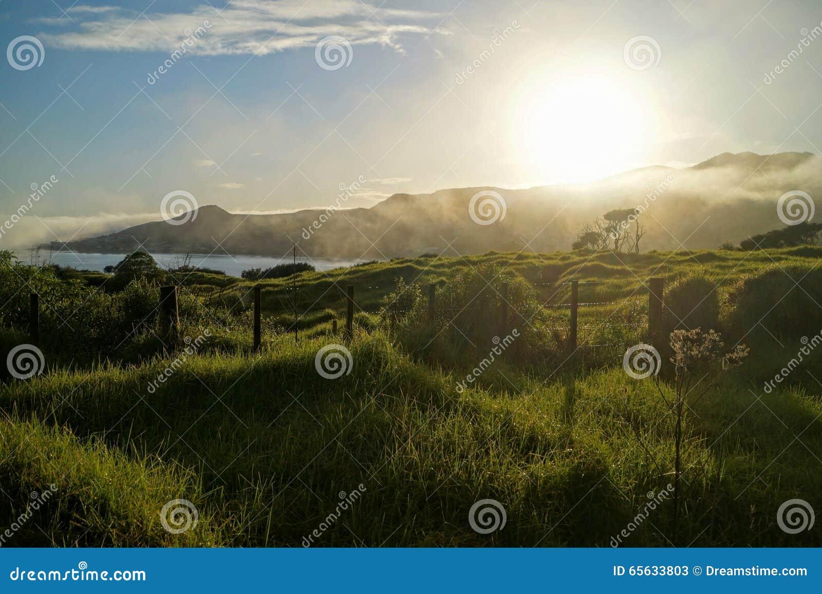 Lever de soleil au-dessus du Nouvelle-Zélande