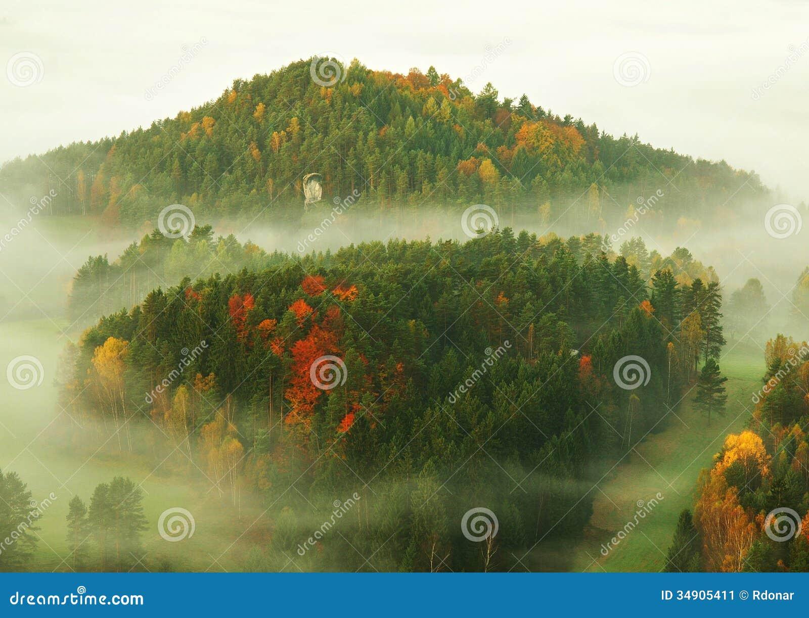 Lever de soleil dans une belle montagne de la Tchèque-Saxe Suisse