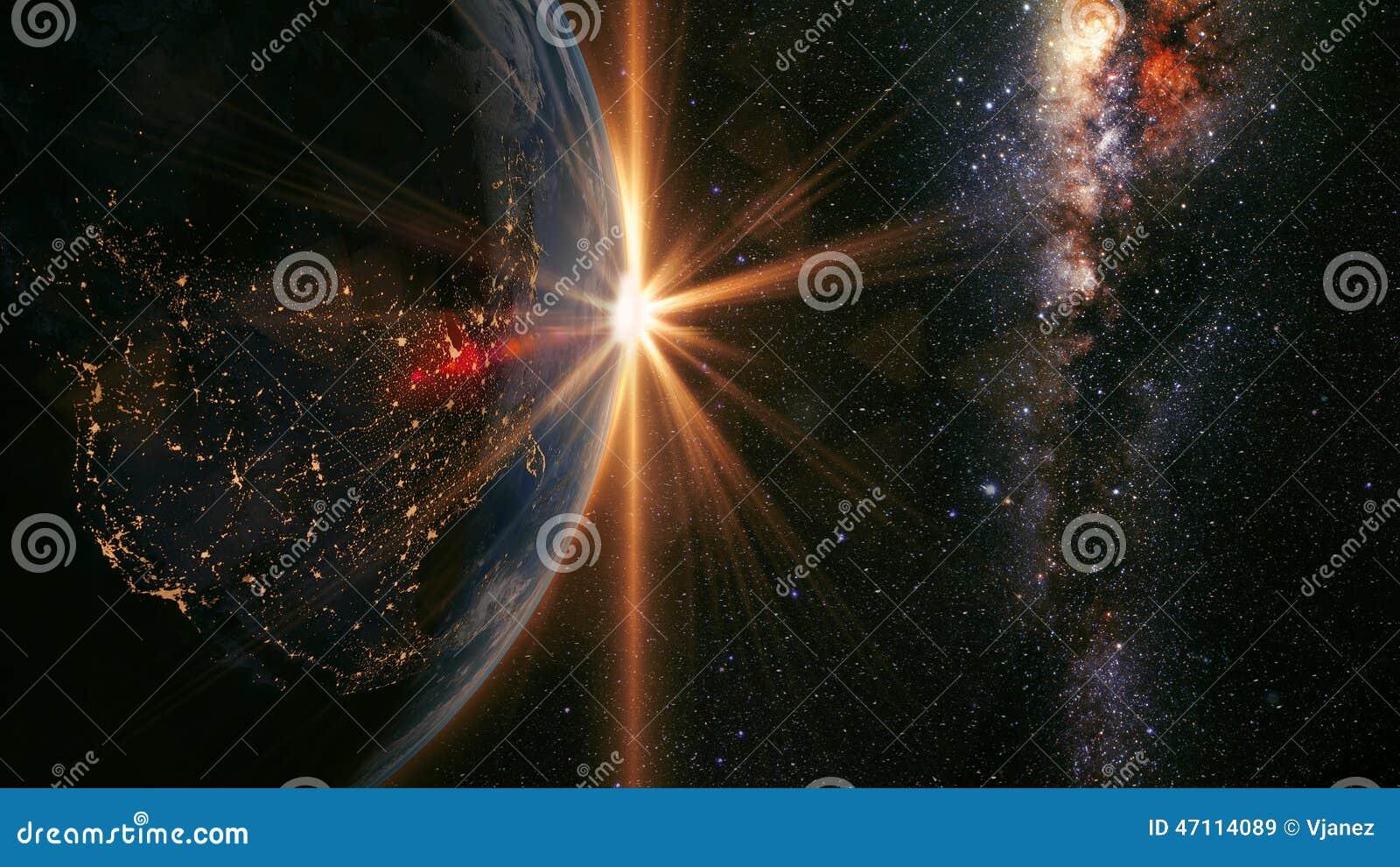 Lever de soleil de la terre
