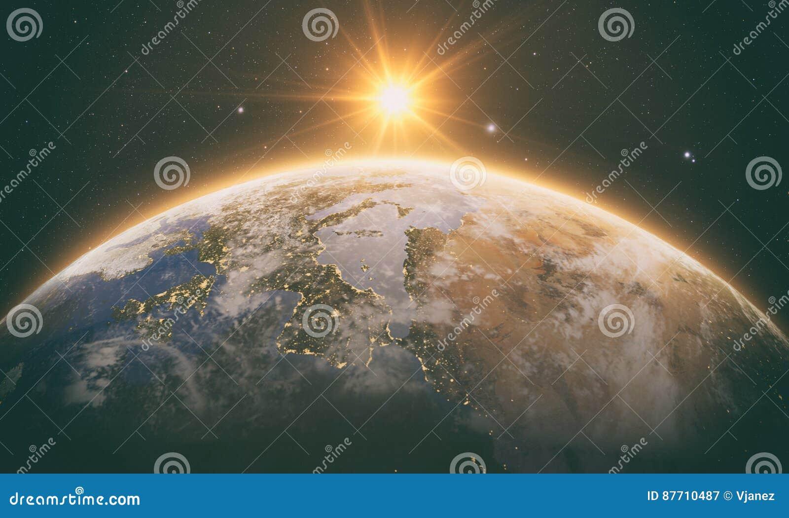 Lever de soleil orange au-dessus de la terre