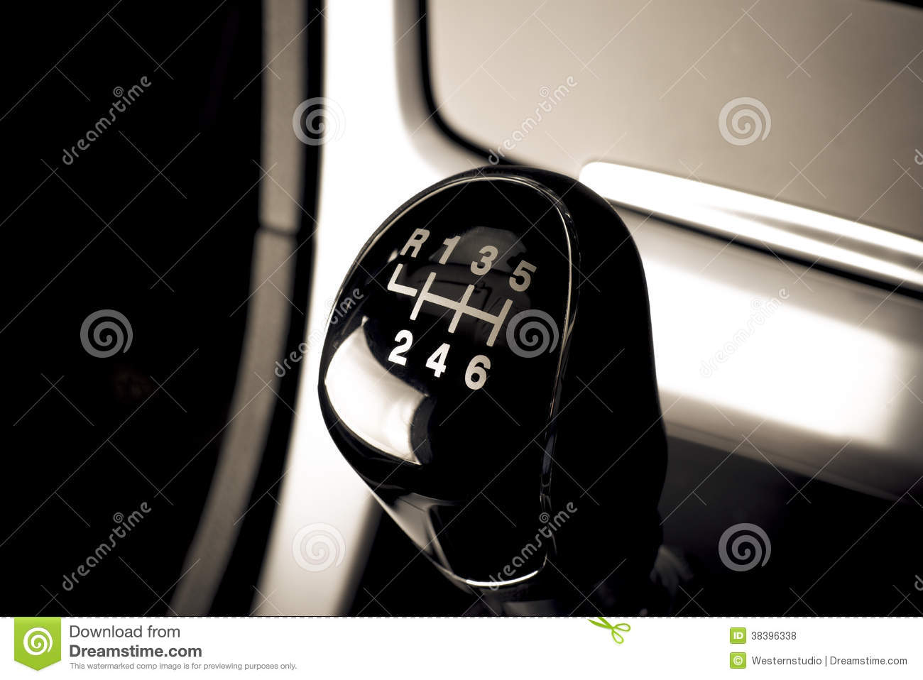 Lever Of Manual Transmission In Auto, Vehicle  Stock Photo - Image