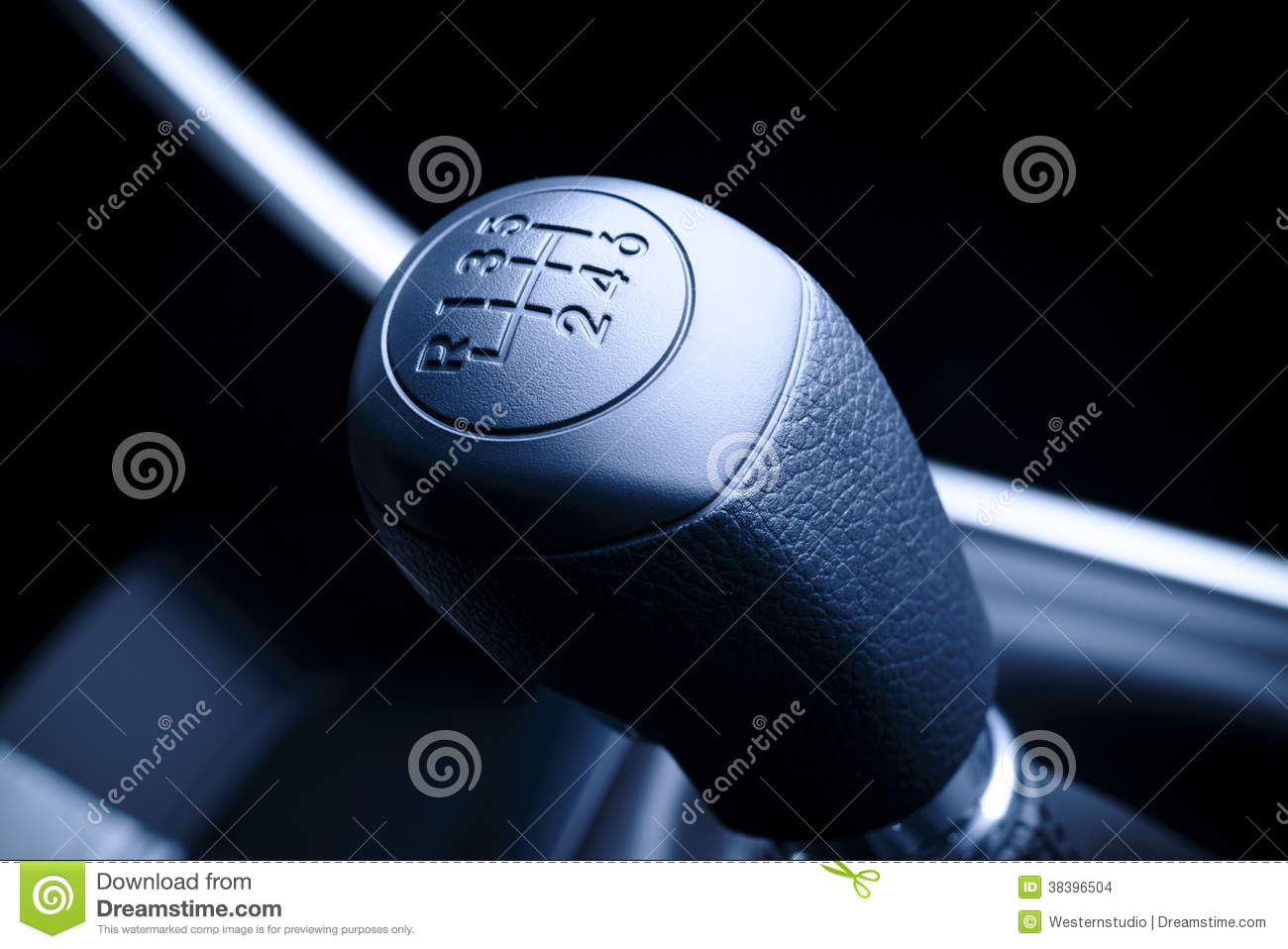 Lever of manual transmission in auto, vehicle.
