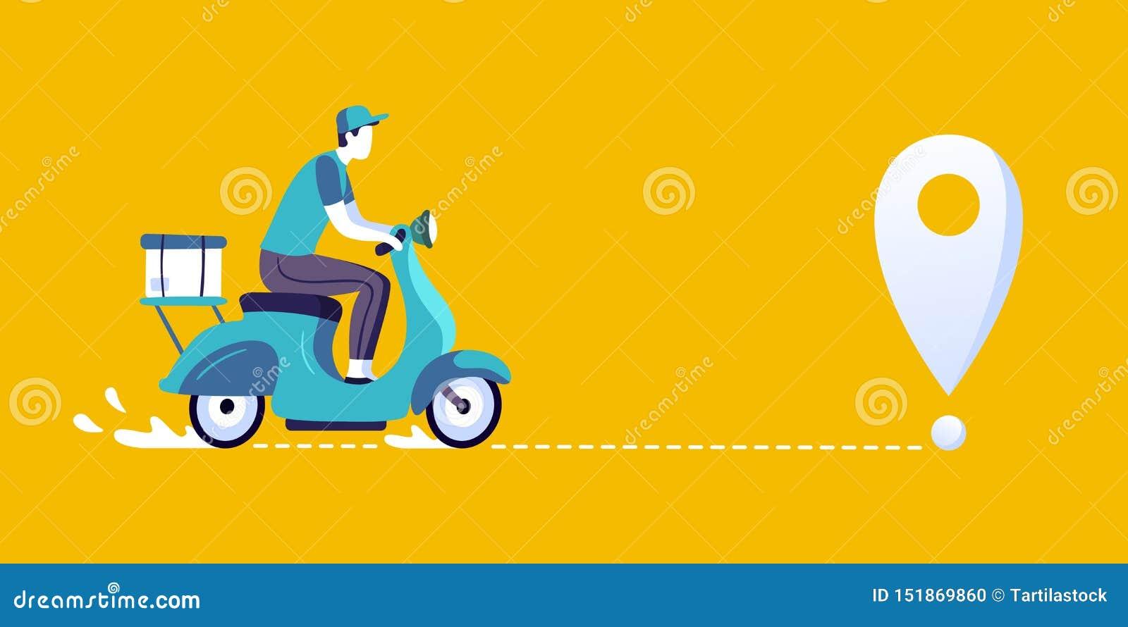 Leveransman p? sparkcykeln Matleveranskurir och att leverera på illustration för stadscykel- och leveransruttvektor