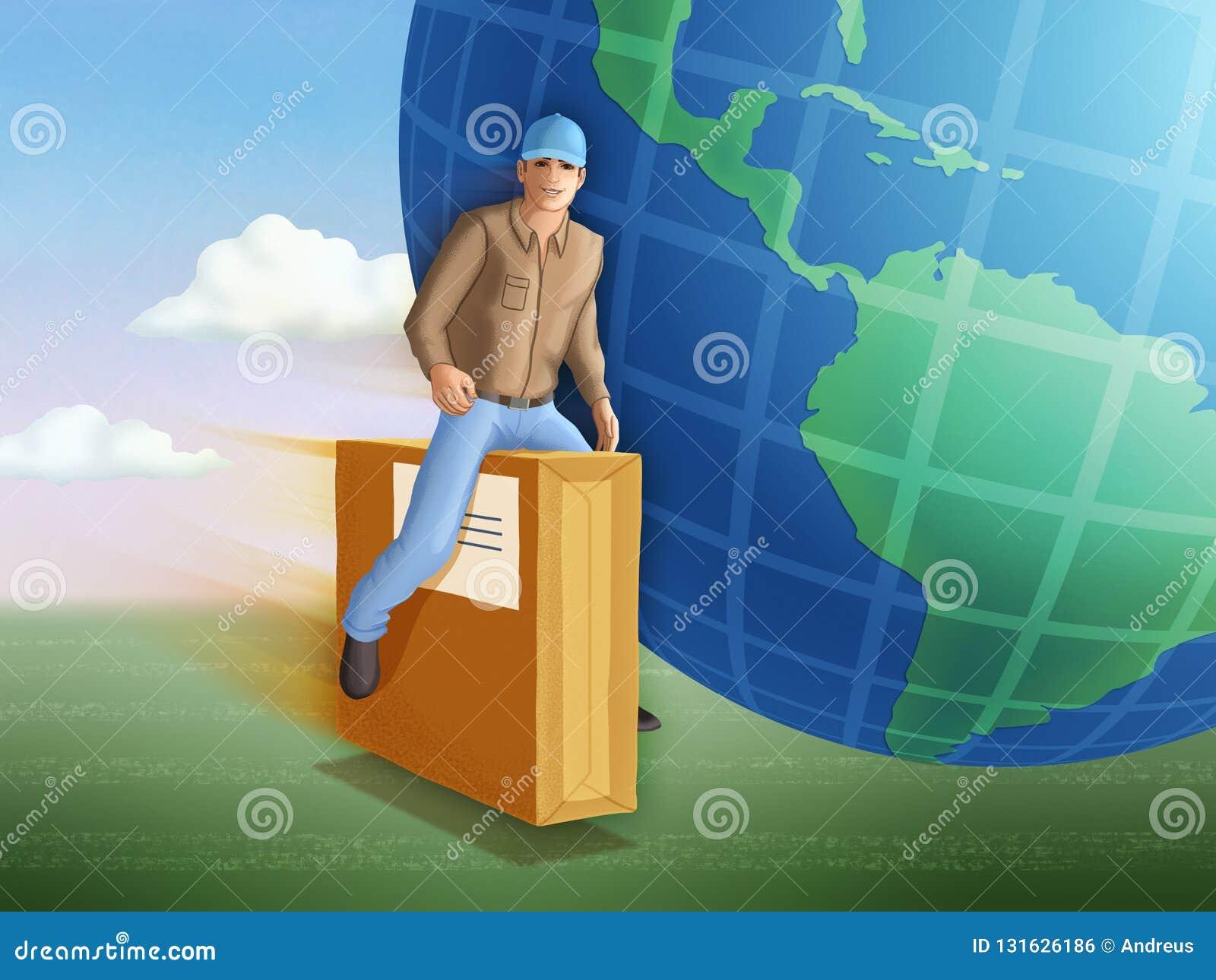Leveransman som rider en flygapacke