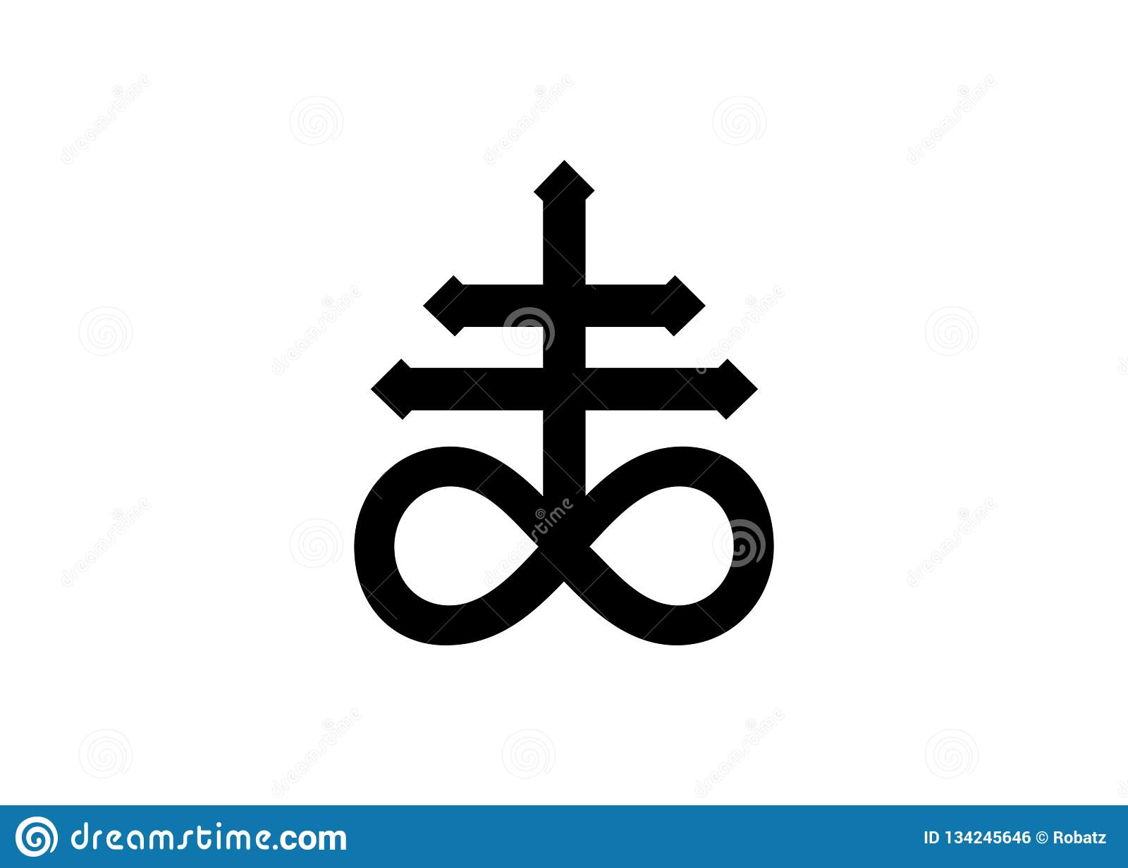 c8f9f7d21cd55 Leviathan Cross alchemical symbol for sulphur, associated with the fire and  brimstone of Hell. Black and white isolated illustration.