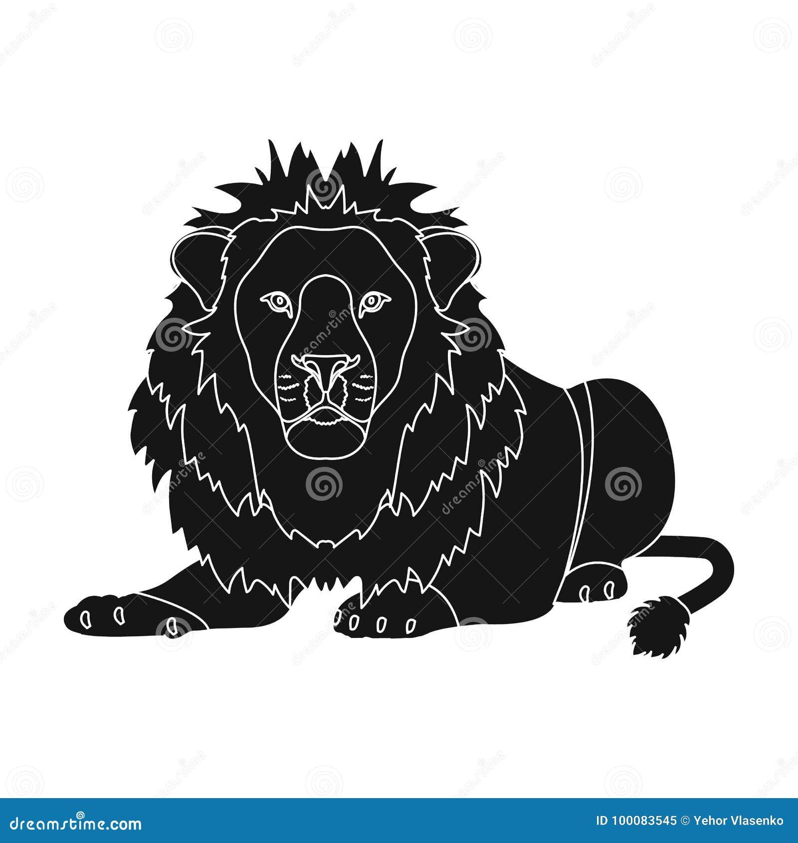 Lew, drapieżnik, dziki i okrutnie Leo królewiątko bestie przerzedże ikonę w czerń stylu symbolu wektorowym zapasie