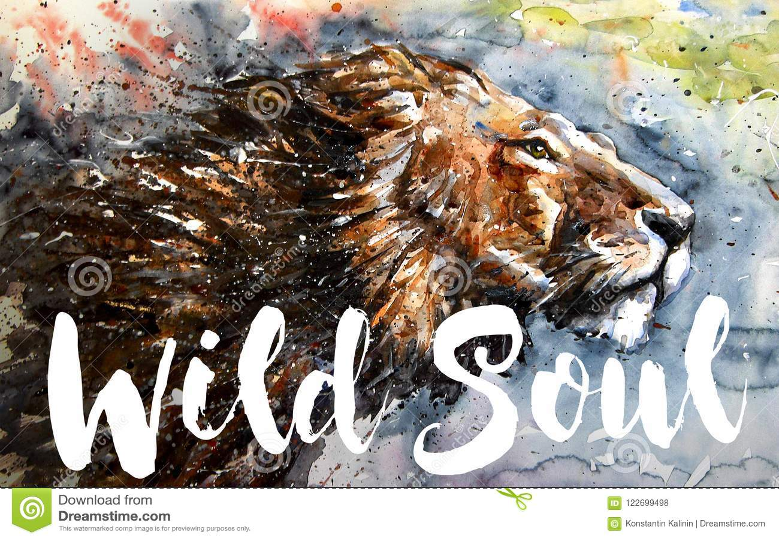Lew duszy Dzikiej akwareli kolorowy obraz, duży ptasi drapieżnik, projekt koszulka, królewiątko góry, uwalnia komarnicy