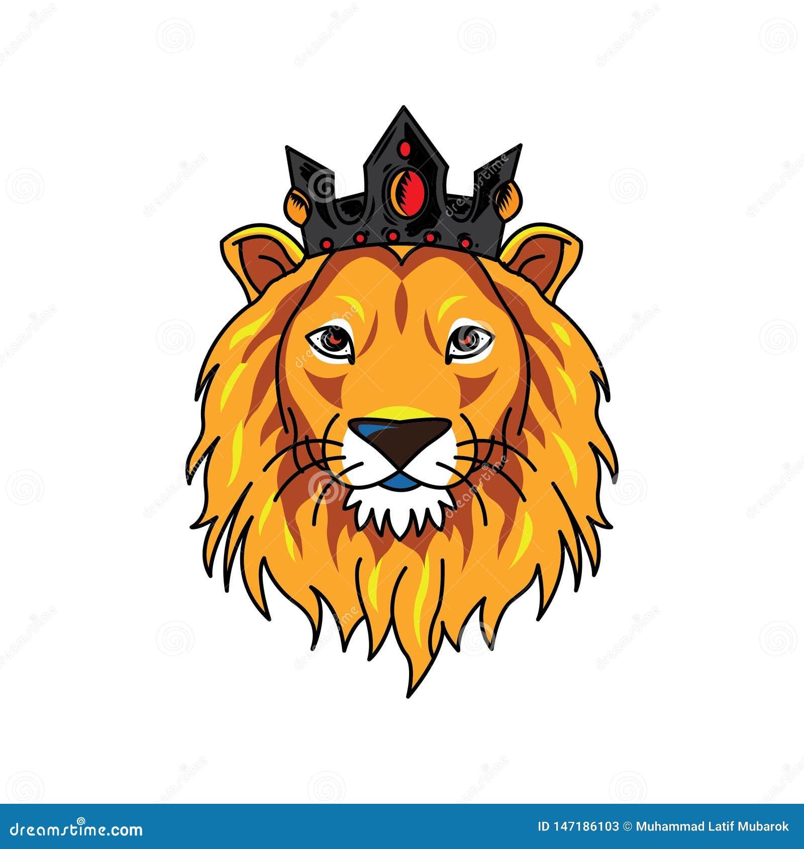 Lew głowy logo jest ubranym koronę