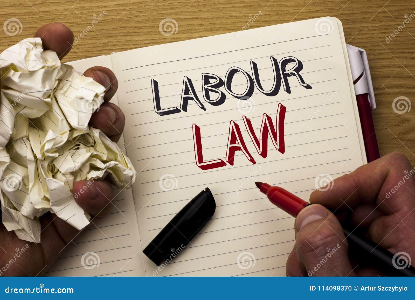 Ley de trabajo del texto de la escritura El empleo del significado del concepto gobierna la unión de la legislación de las obliga