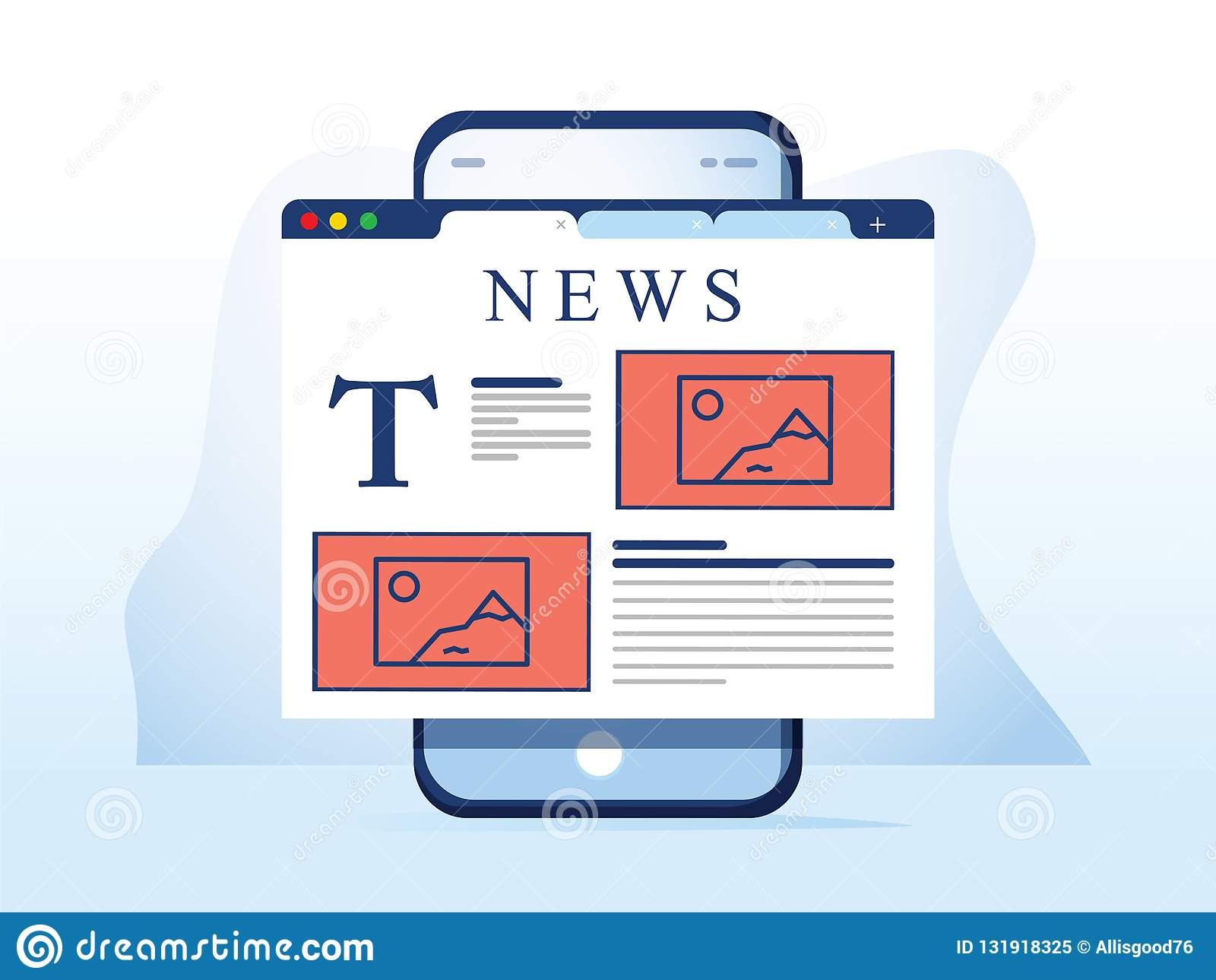 Lezingsnieuws op smartphone Online die krantenwebsite in mobiele browser op smartphone wordt geopend Nieuws app, online media