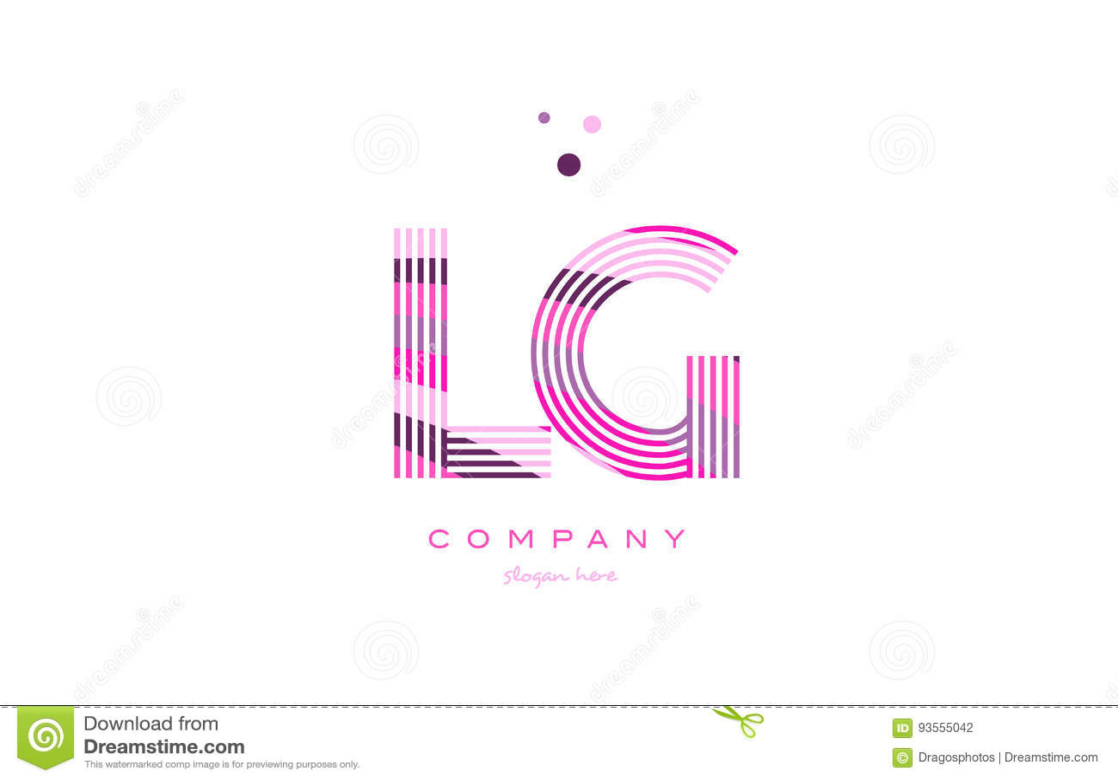 Lg L G Alphabet Letter Logo Pink Purple Line Icon Template