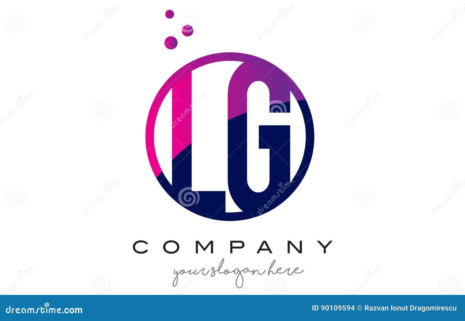 LG L G Circle Letter Logo Design With Purple Dots Bubbles Stock