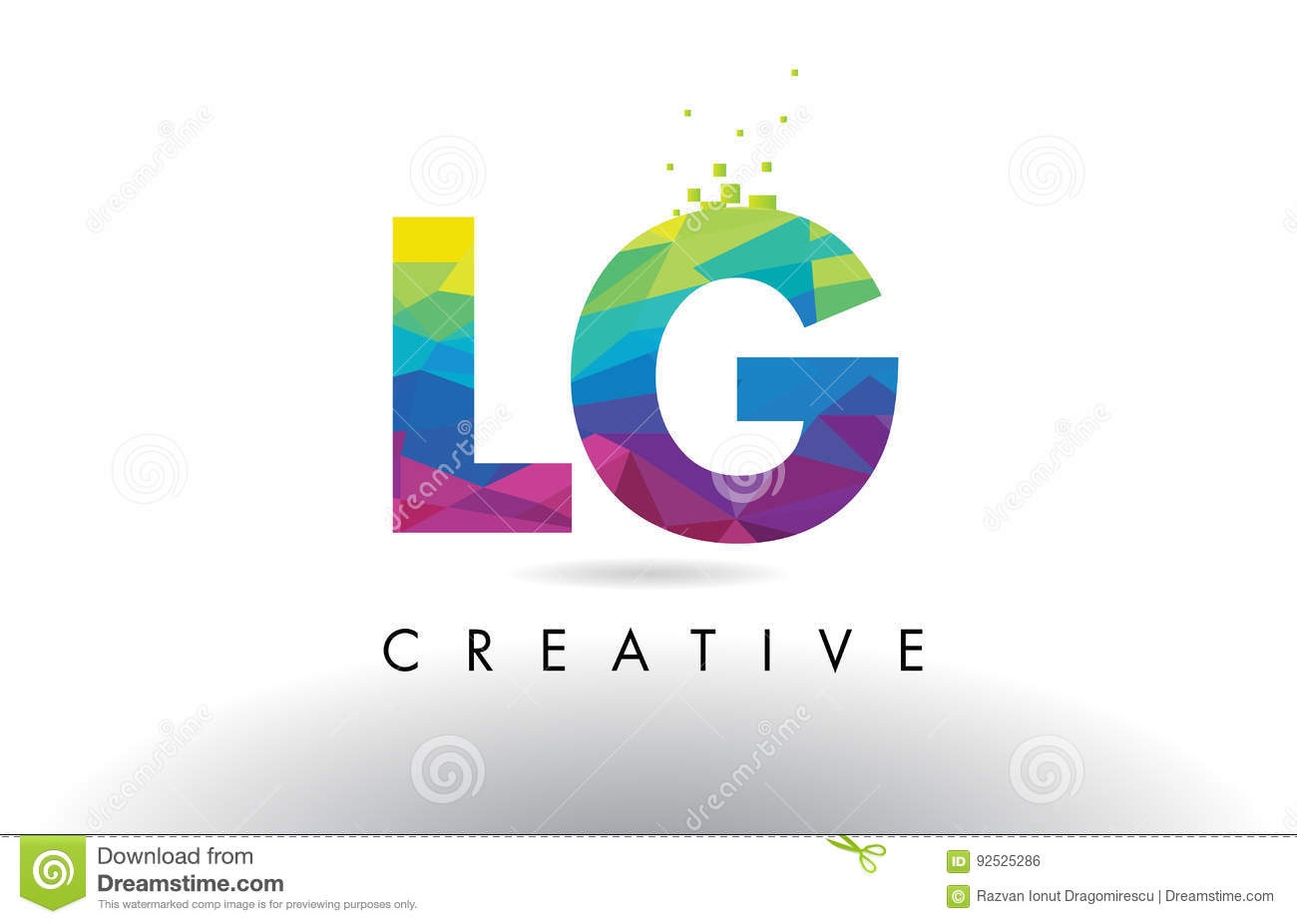 Lg L G Colorful Letter Origami Triangles Design Vector Stock Vector
