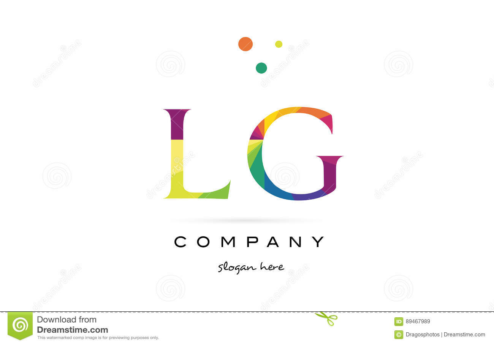 Lg L G Creative Rainbow Colors Alphabet Letter Logo Icon Stock