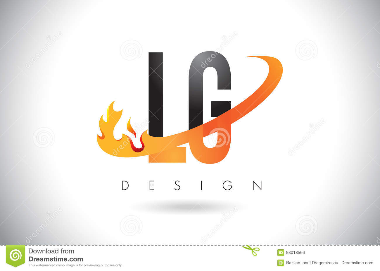 Lg L G Letter Logo With Fire Flames Design And Orange Swoosh Stock
