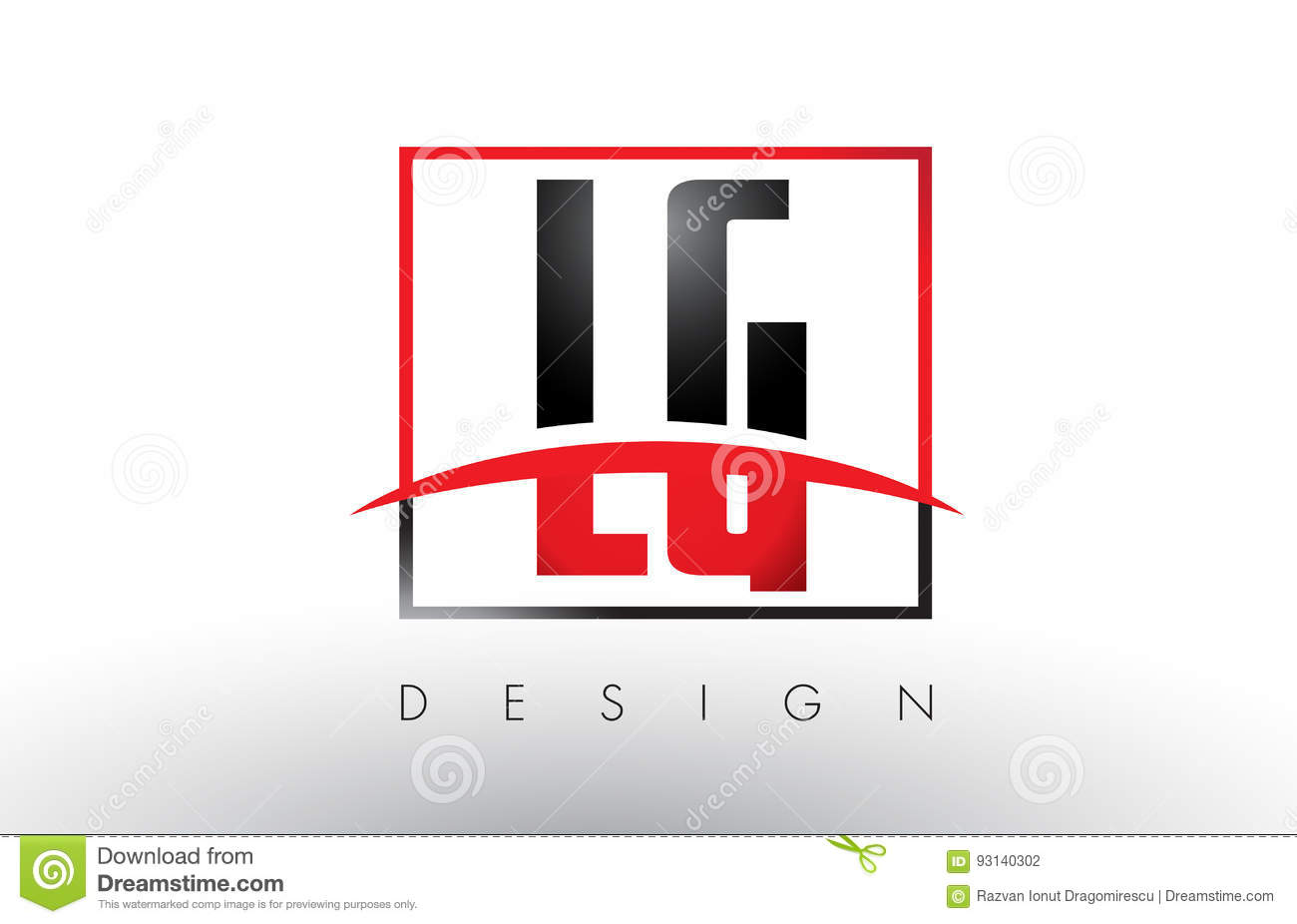 Lg L G Logo Letters With Red And Black Colors And Swoosh Stock