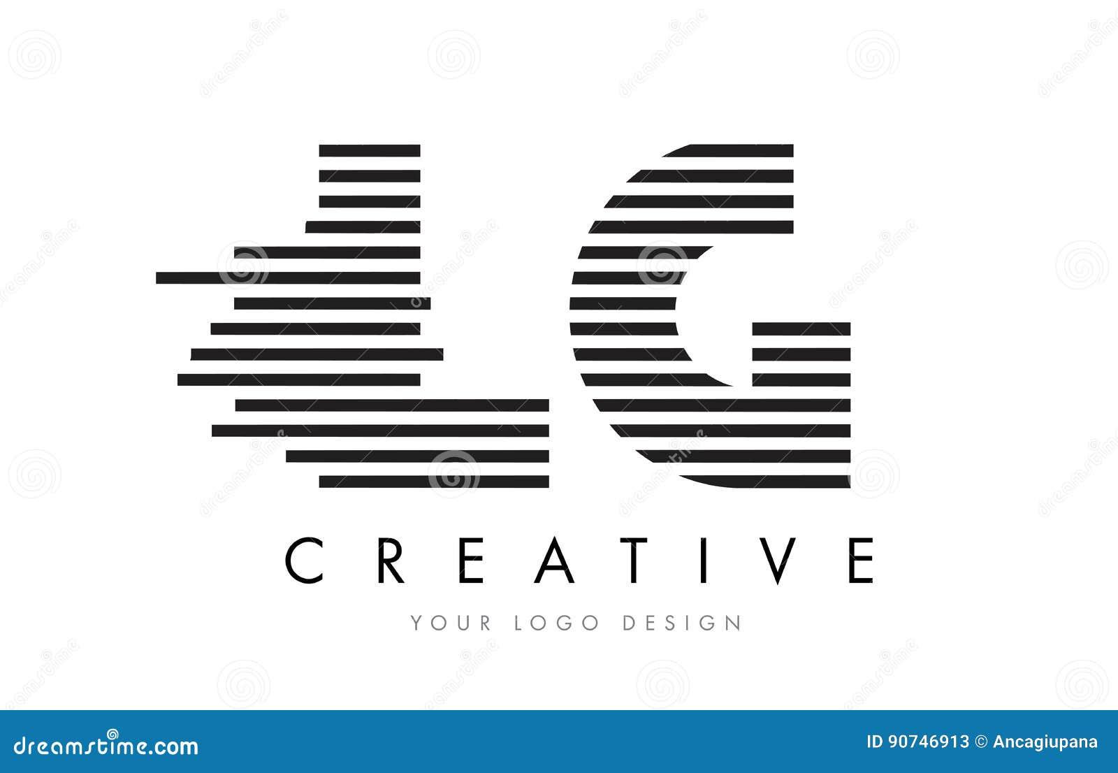 LG L G Zebra Letter Logo Design With Black And White Stripes Stock