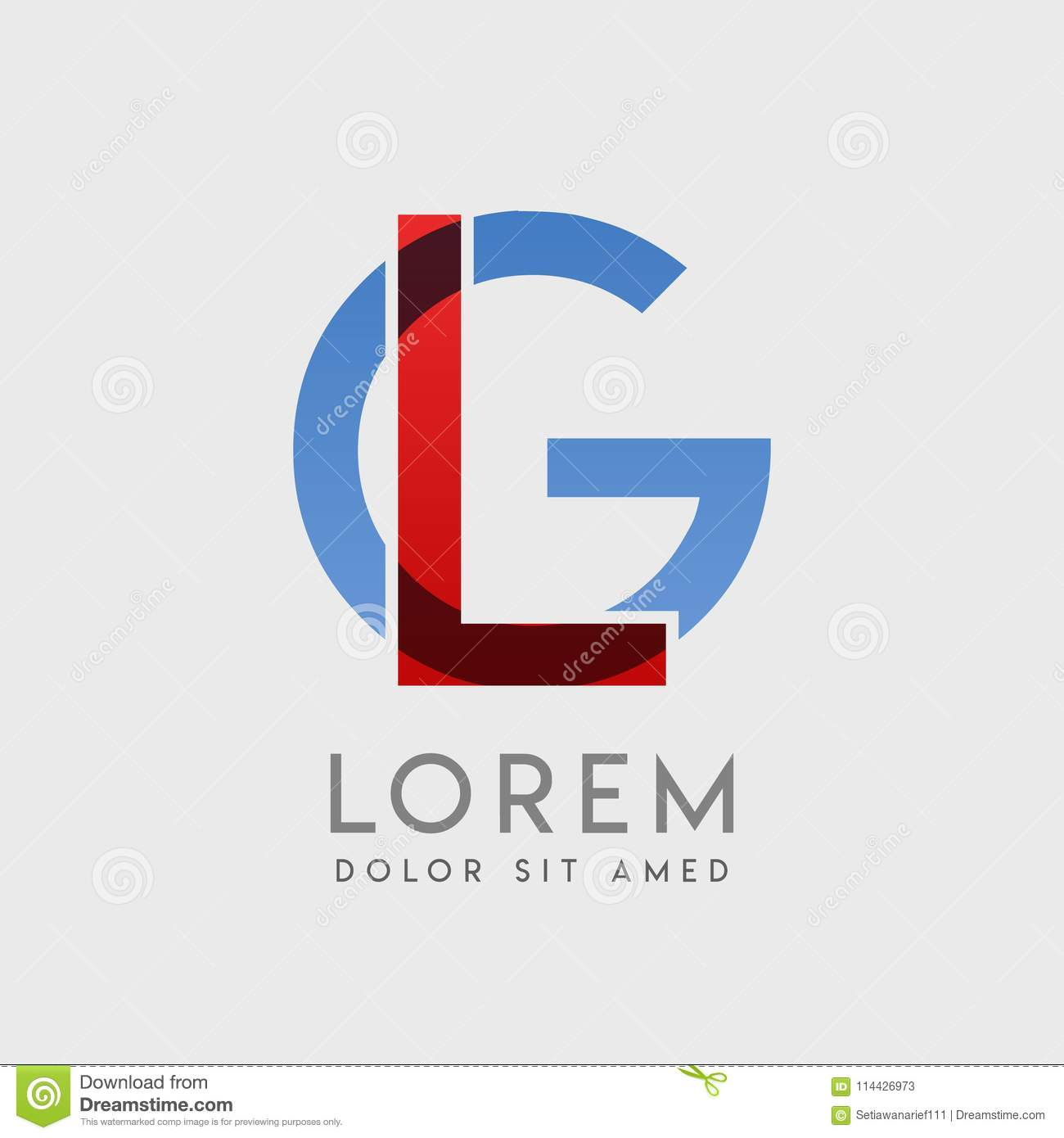 Lg Logo Letters With Blue And Red Gradation Stock Vector