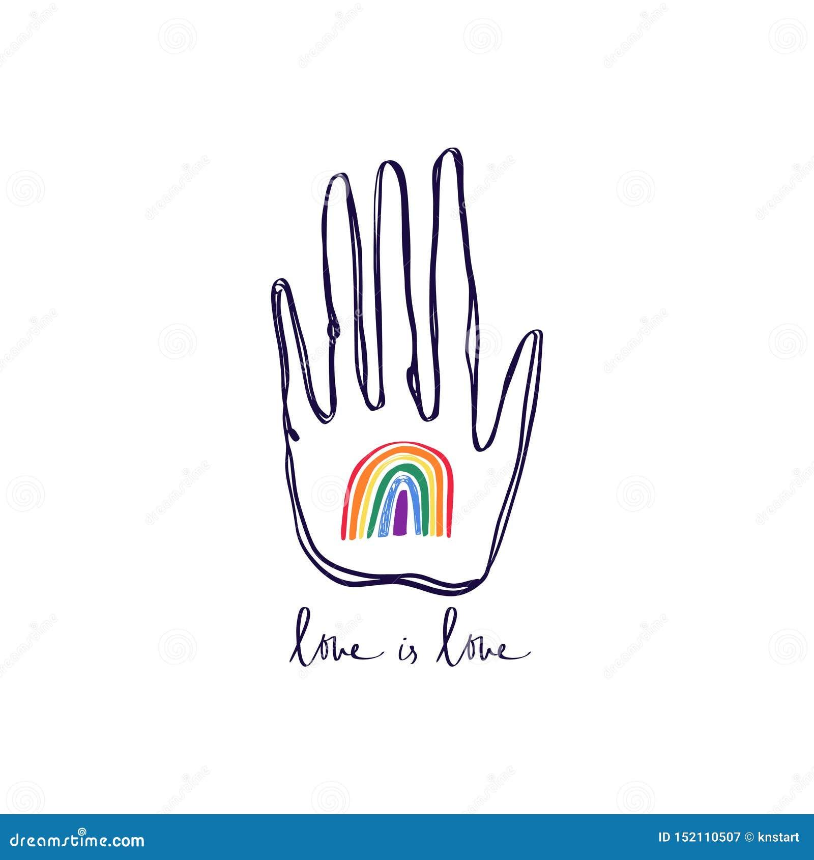 LGBT手,停止同性恋恐惧症,与手拉的彩虹,人权遵守的手印刷品 女同性恋,快乐,两性,trans和