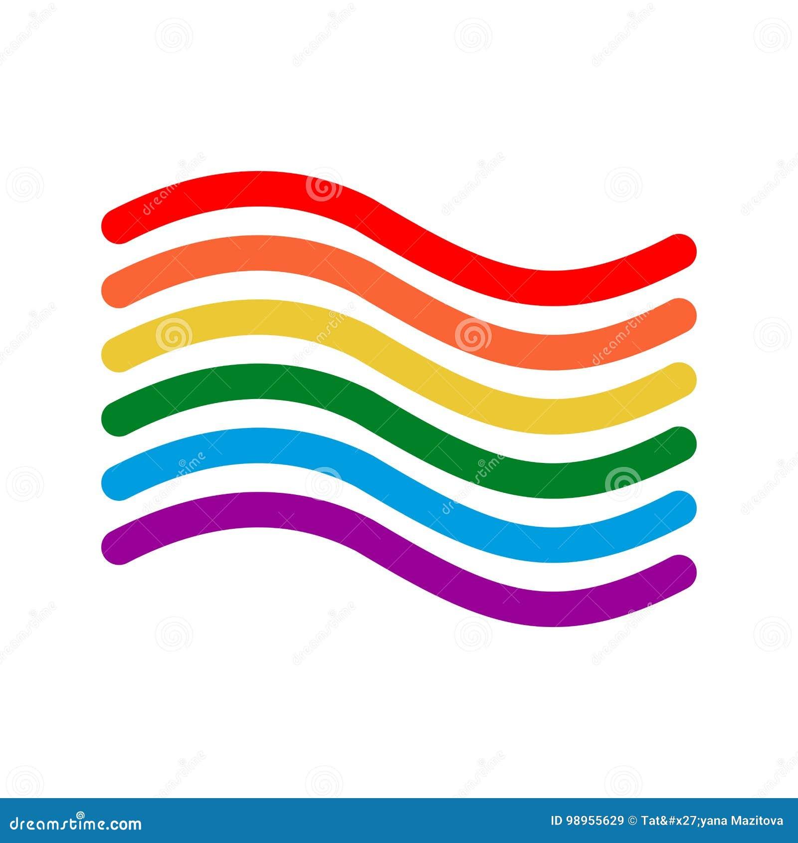 LGBT chorągwiany liniowy styl Znak tęcza homoseksualny symbol