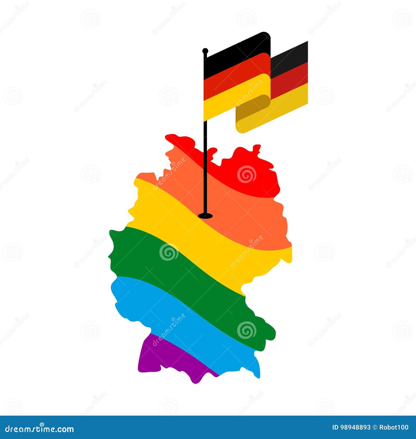 Lgbt germania mappa del deutschland e della bandiera - Bandiera della pagina di colorazione della germania ...