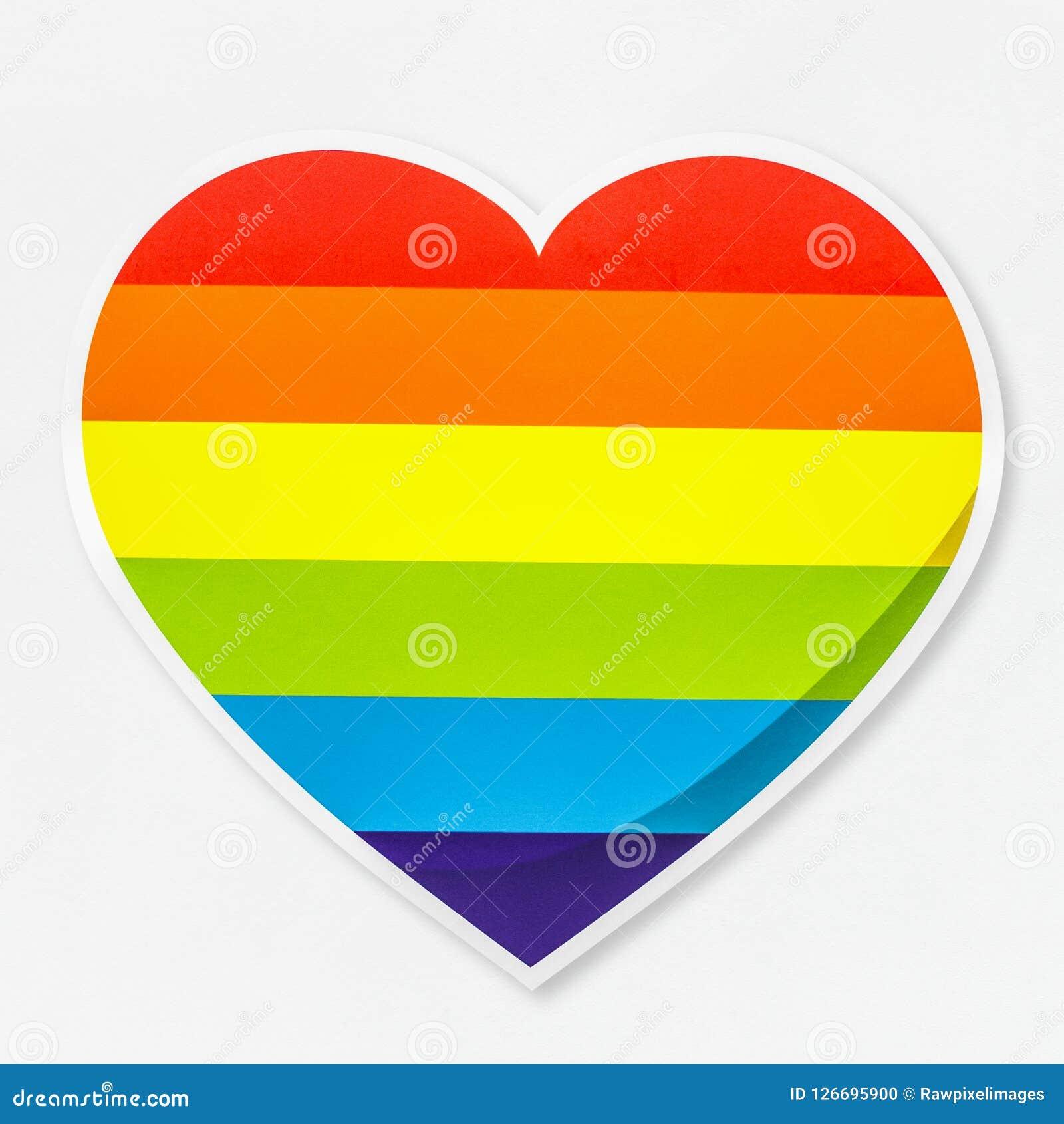 LGBT heart shaped rainbow icon isolated Vector Illustration
