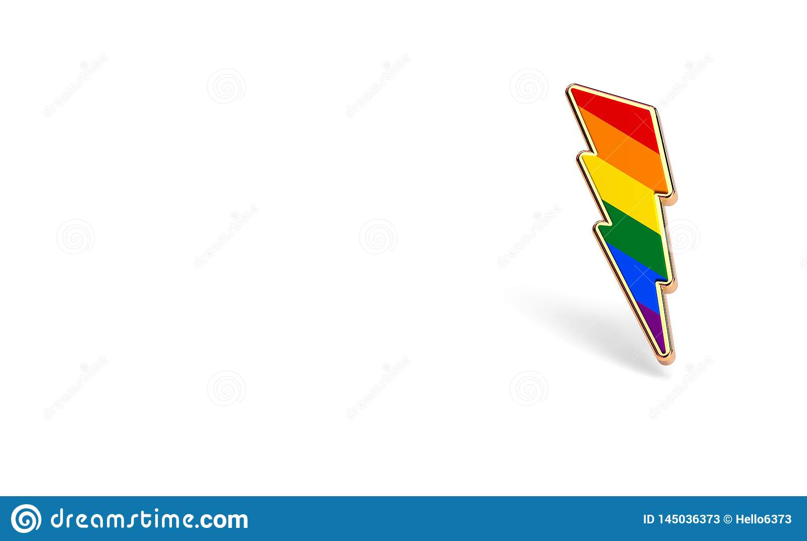 LGBT lightning bolt rainbow pride symbol isolated on white background with copy space on the left side. Gay, Lesbian and sexual