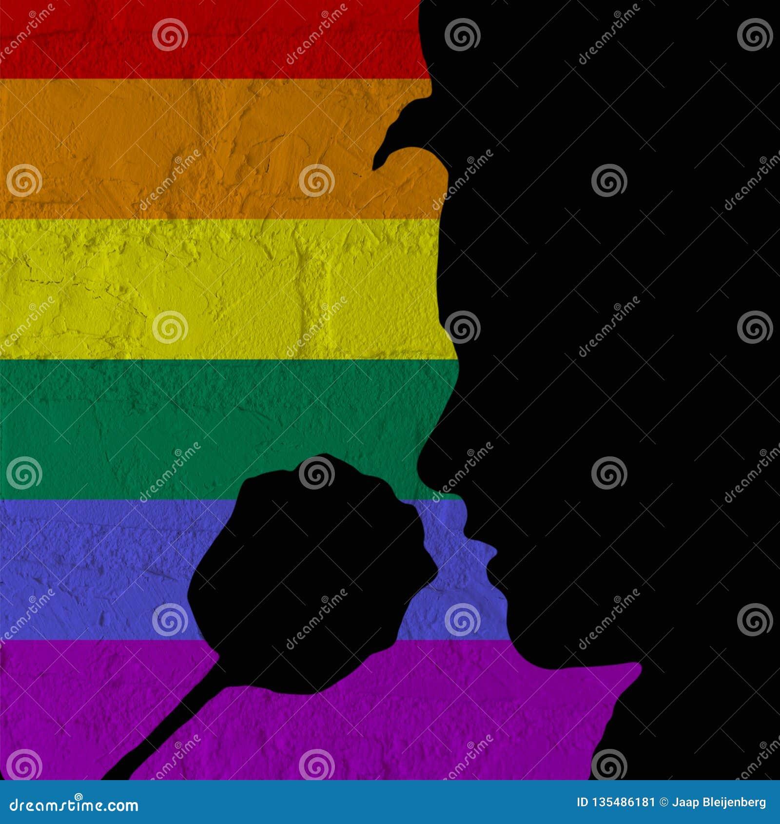 LGBT, silueta de una cara que huele una rosa de día de San Valentín, aislada en una pared de ladrillo con el modelo de la bandera